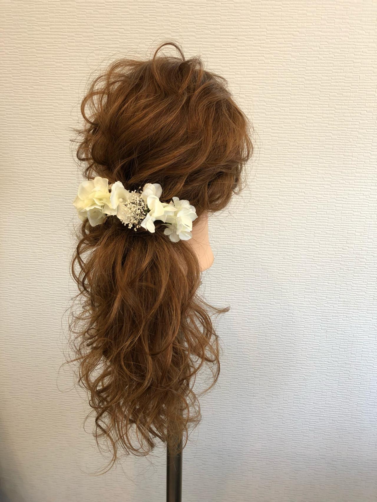 ポニーテール ヘアアレンジ フェミニン ブライダル ヘアスタイルや髪型の写真・画像