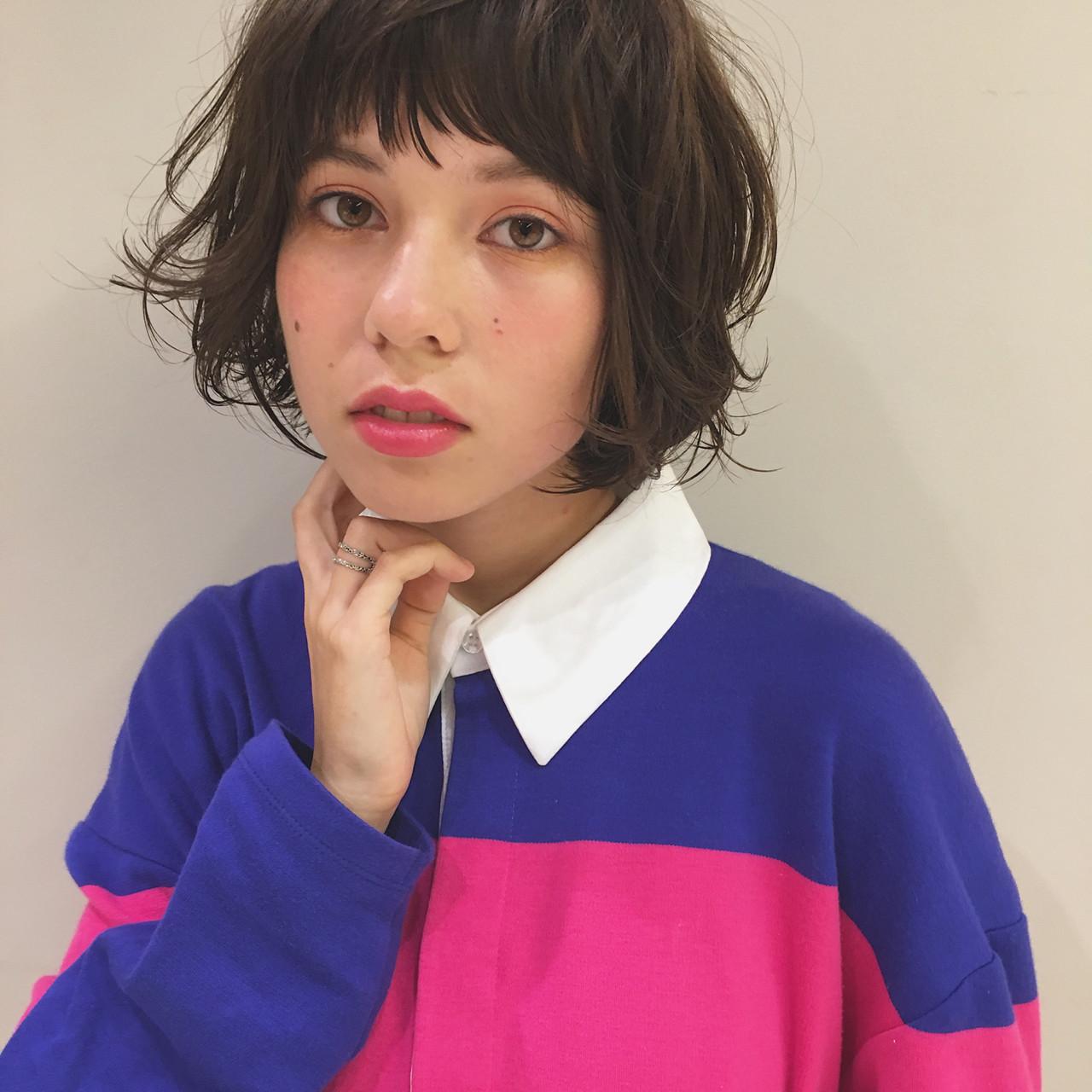 外国人風 パーマ ボブ 秋 ヘアスタイルや髪型の写真・画像