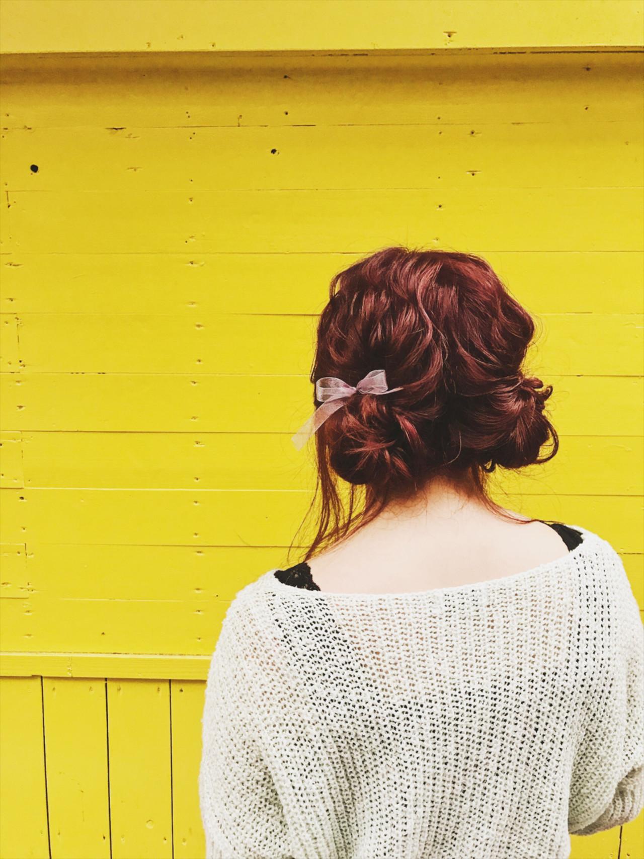ヘアアレンジ ミディアム お団子 ガーリー ヘアスタイルや髪型の写真・画像