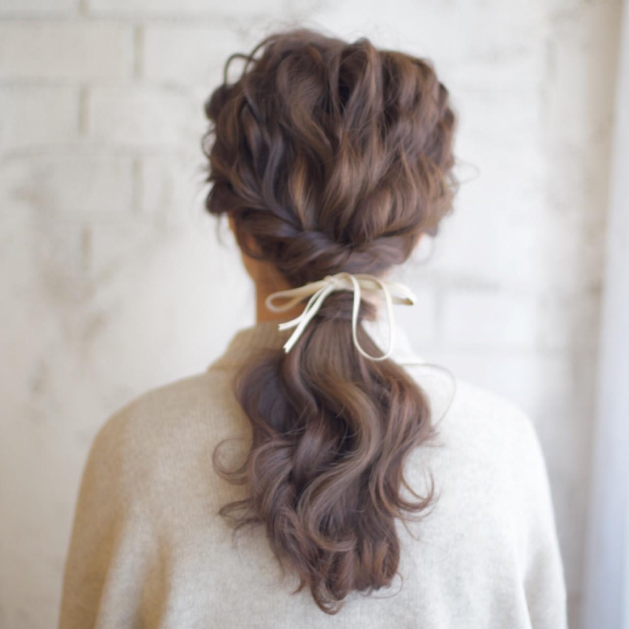 ショート セミロング ヘアアレンジ ポニーテール ヘアスタイルや髪型の写真・画像