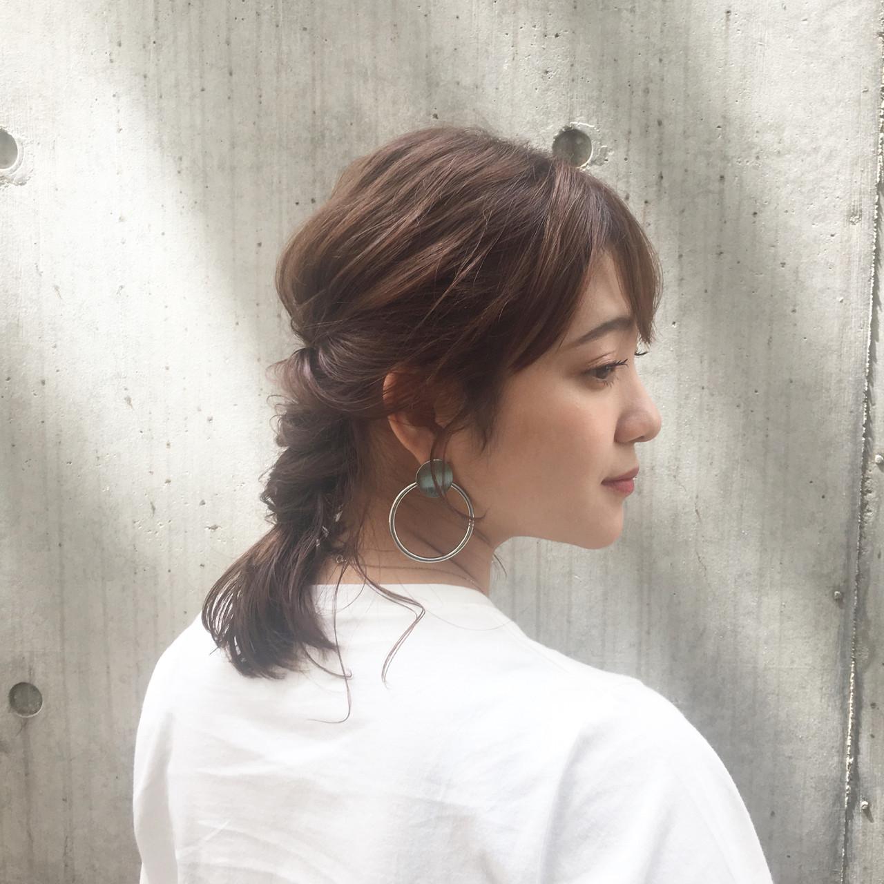 結婚式 デート ミディアム ヘアアレンジ ヘアスタイルや髪型の写真・画像