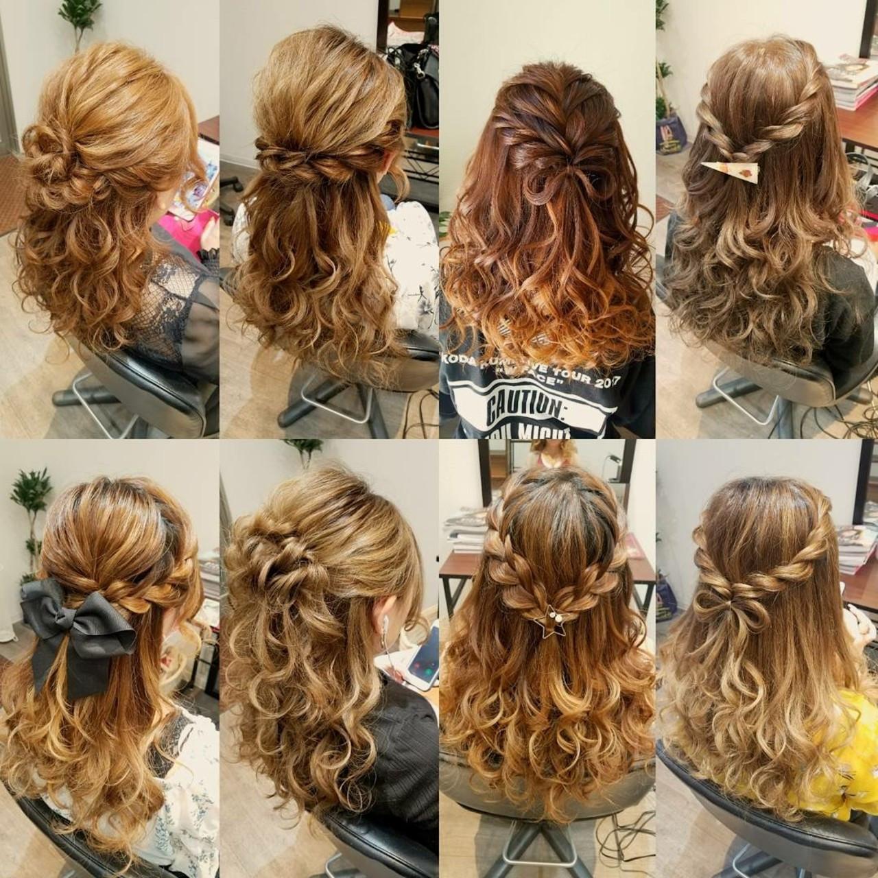 フェミニン ロング ハーフアップ ヘアスタイルや髪型の写真・画像