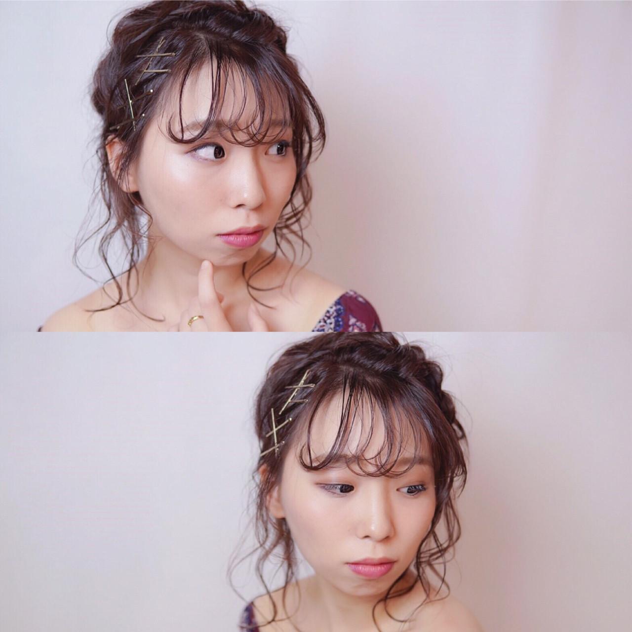 ミディアム ヘアアクセ 冬 ヘアアレンジ ヘアスタイルや髪型の写真・画像