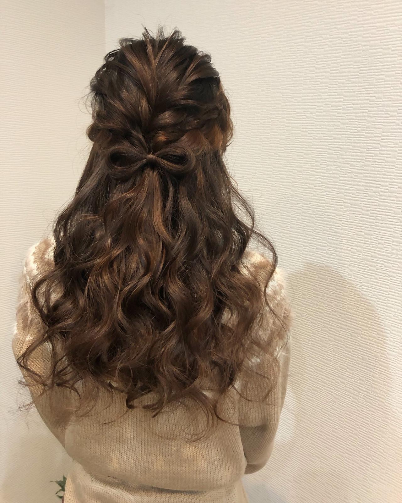 ハーフアップ ガーリー ヘアアレンジ 編み込み ヘアスタイルや髪型の写真・画像