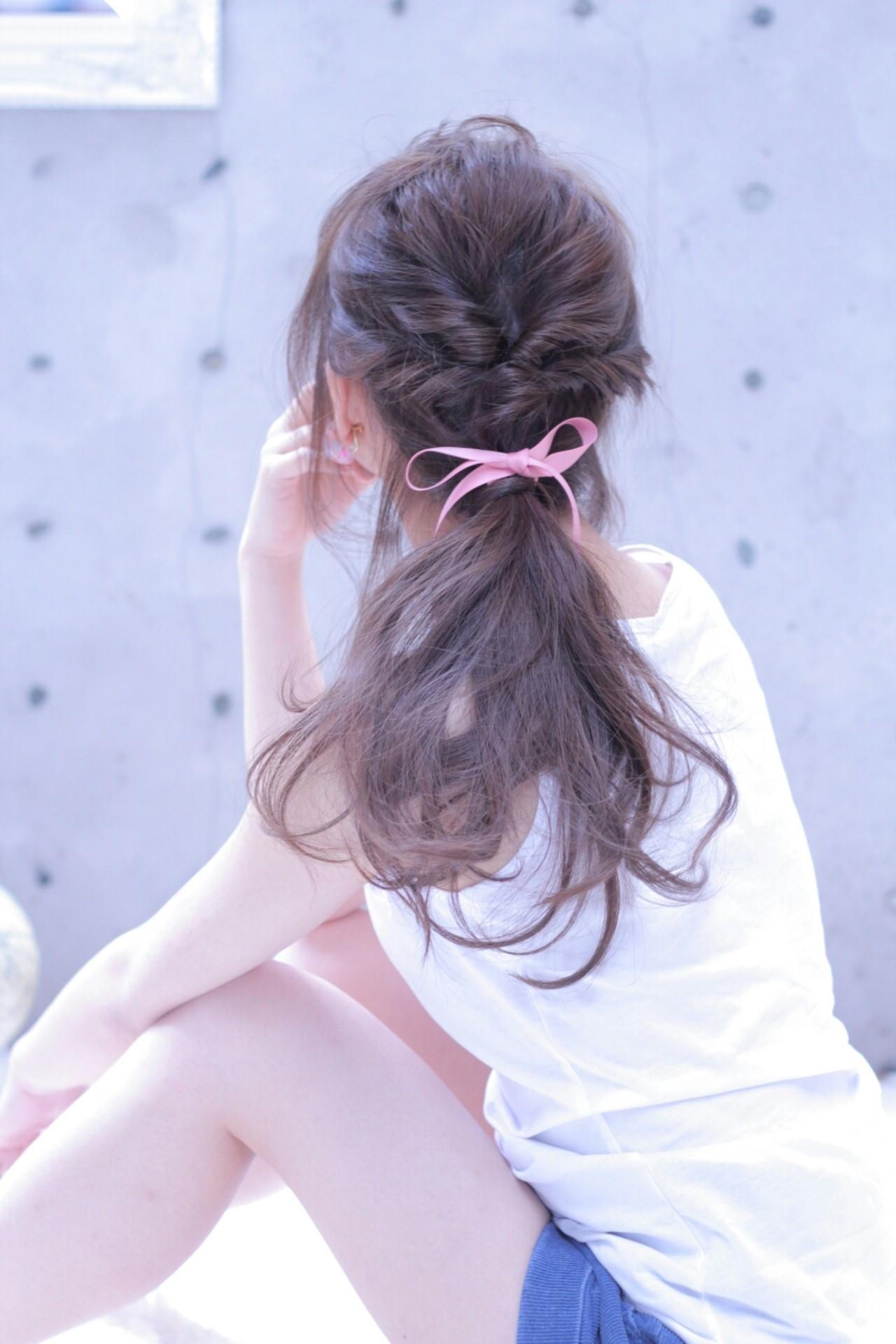 ヘアアレンジ ロング 簡単ヘアアレンジ ポニーテール ヘアスタイルや髪型の写真・画像