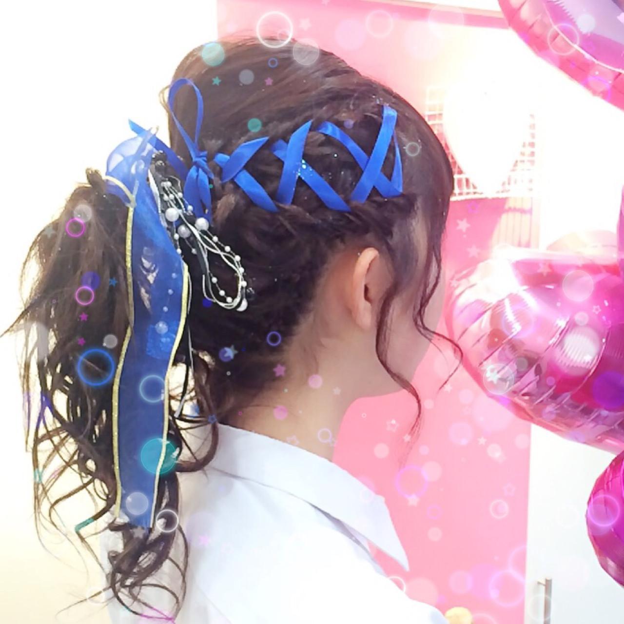 編み込み ヘアアレンジ セミロング 学校 ヘアスタイルや髪型の写真・画像