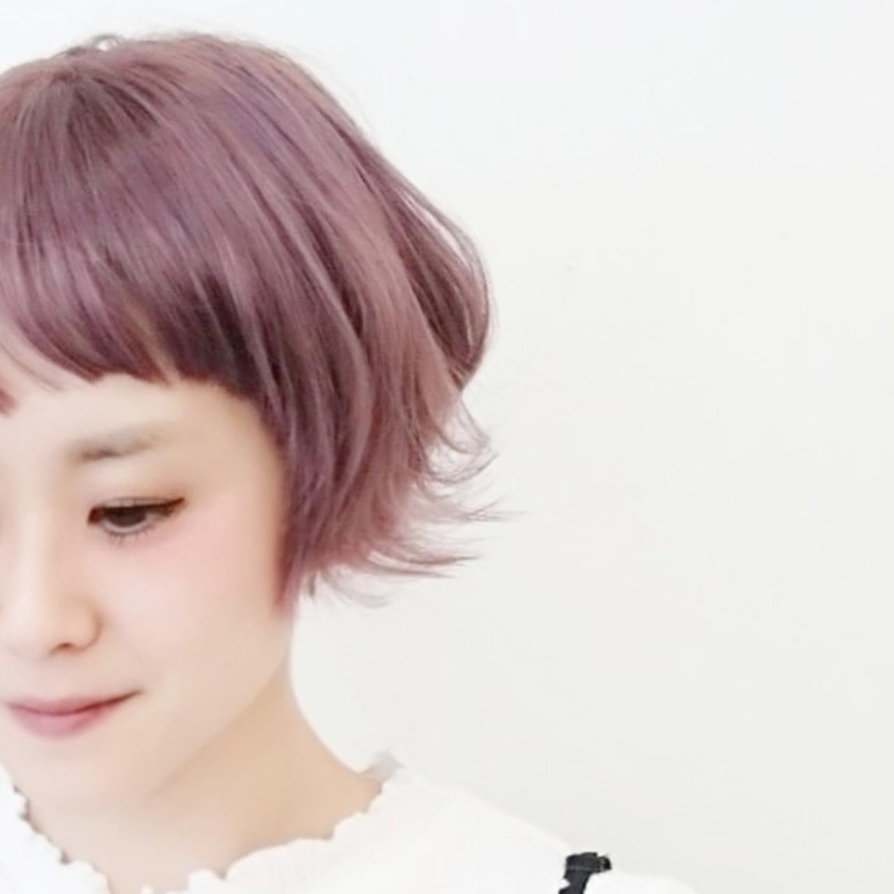 透明感溢れるピンクアッシュショート KUMA  hair make PUR