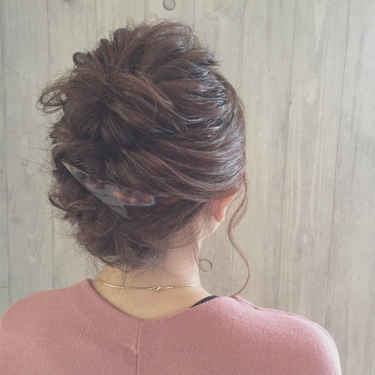 バレッタ くるりんぱ ボブ ヘアアレンジ ヘアスタイルや髪型の写真・画像