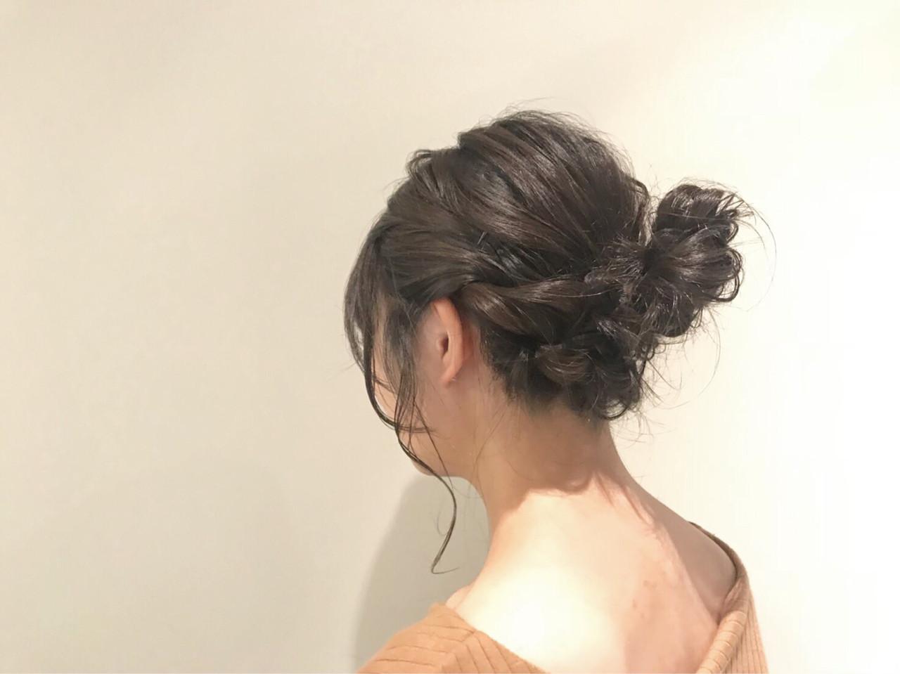 ミディアム ルーズ お団子 三つ編み ヘアスタイルや髪型の写真・画像