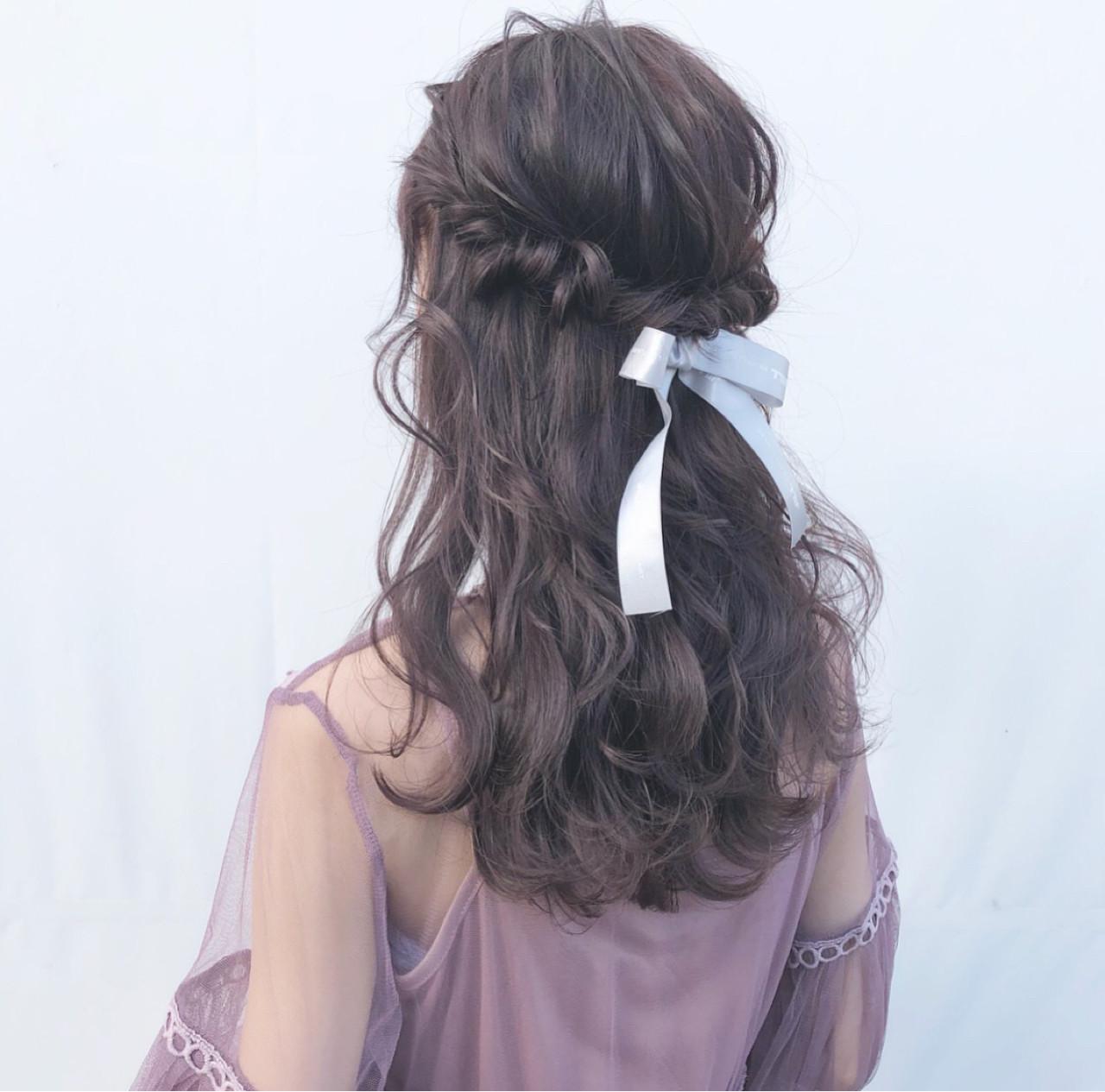 アンニュイほつれヘア ガーリー ハーフアップ 簡単ヘアアレンジ ヘアスタイルや髪型の写真・画像