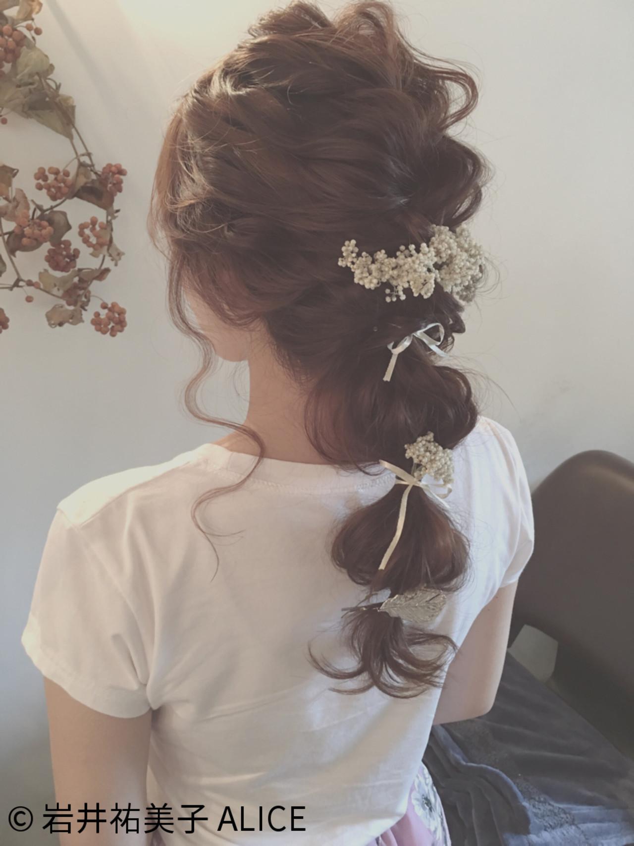 編み込み ヘアアレンジ ロング アッシュ ヘアスタイルや髪型の写真・画像