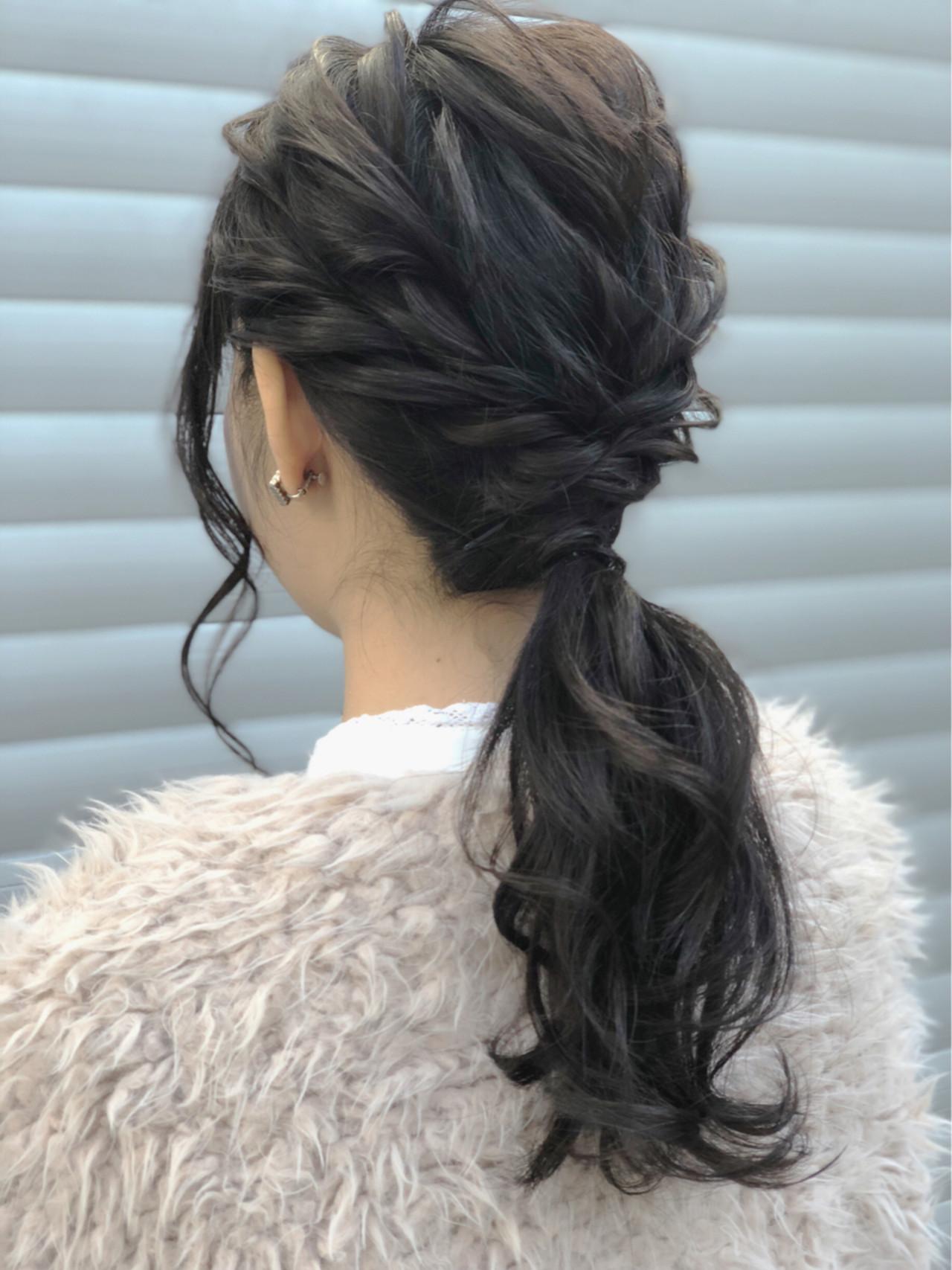 ポニーテール ヘアアレンジ 結婚式 ナチュラル ヘアスタイルや髪型の写真・画像