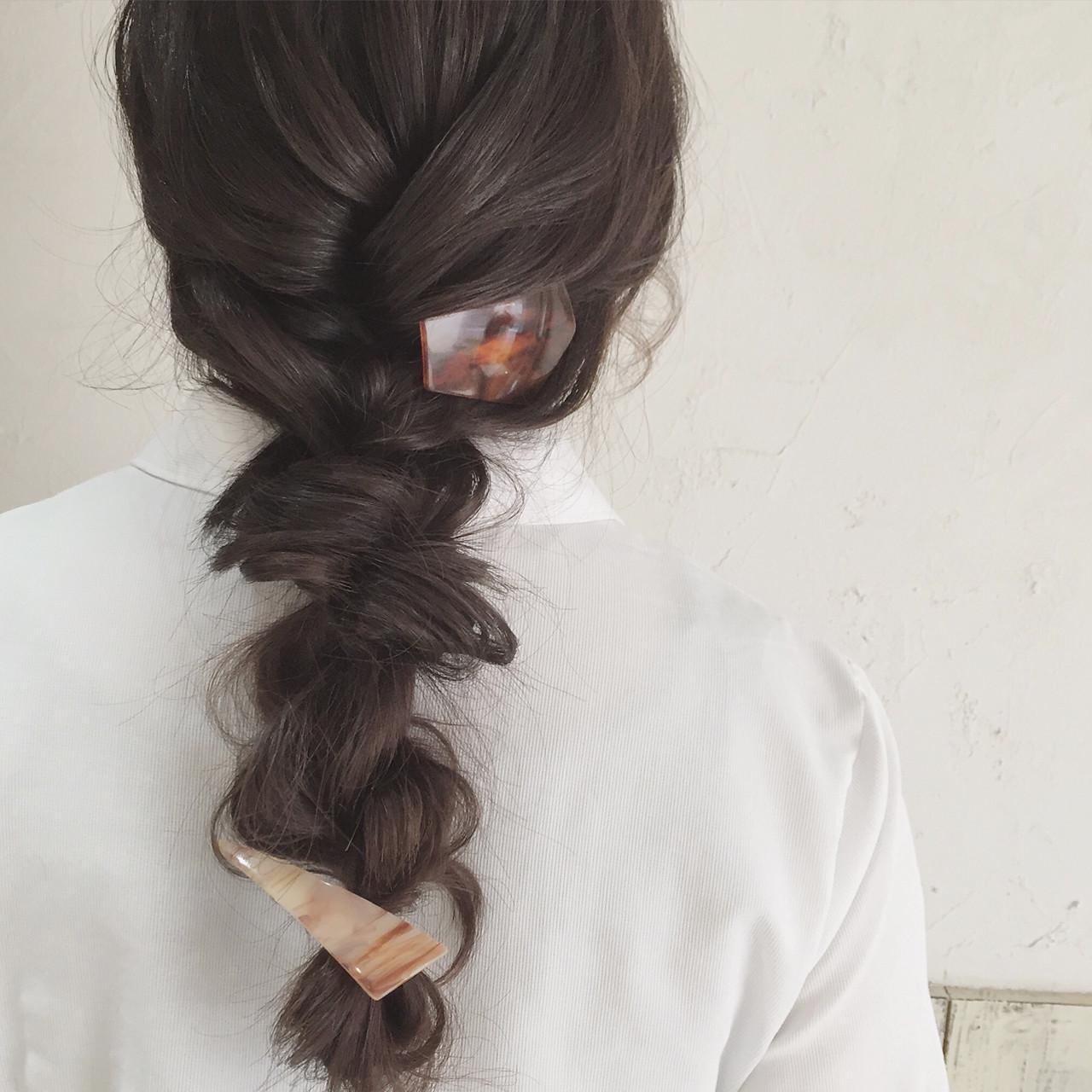 黒髪 簡単ヘアアレンジ ロング バレッタ ヘアスタイルや髪型の写真・画像
