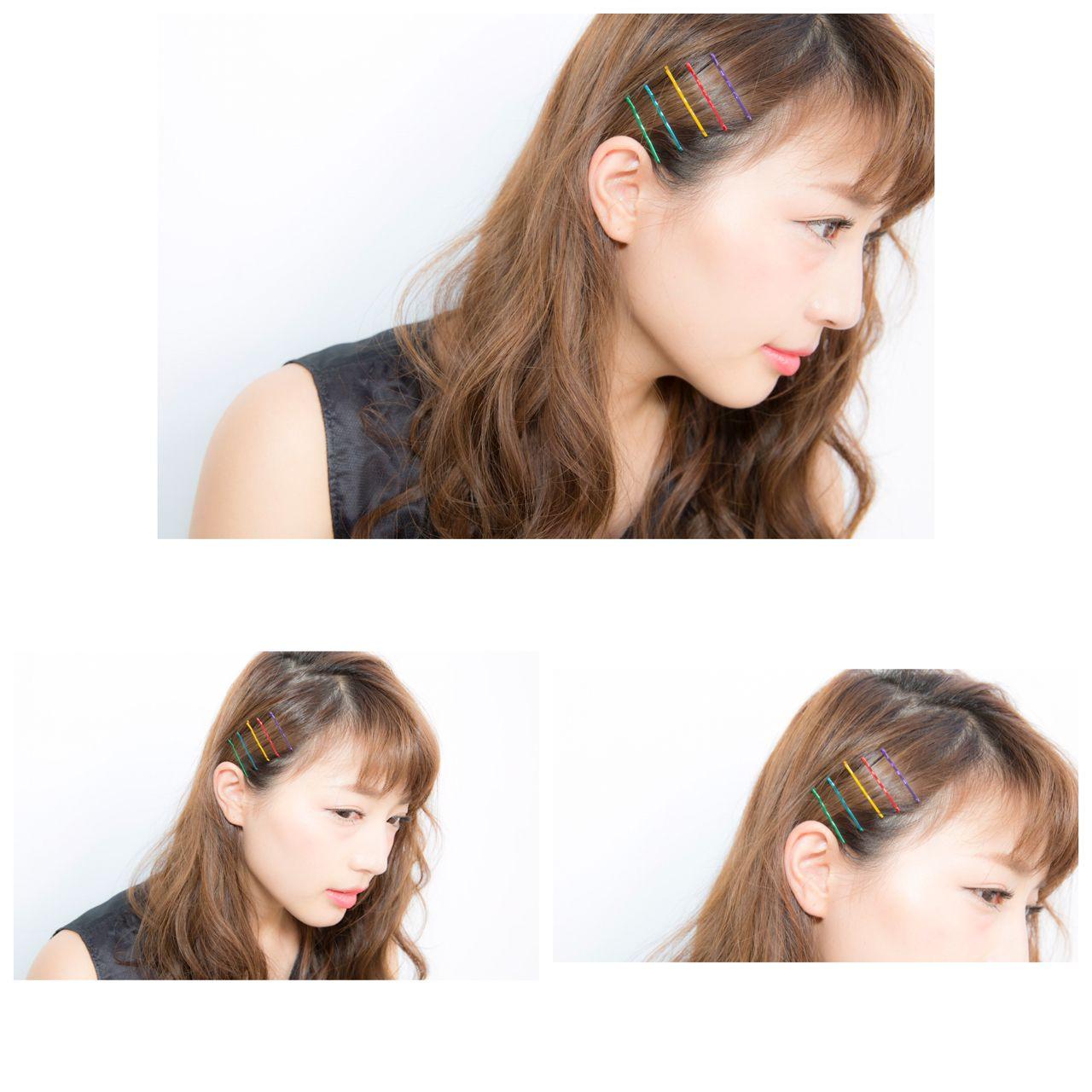 ラフ ヘアピン ヘアアレンジ ストリート ヘアスタイルや髪型の写真・画像