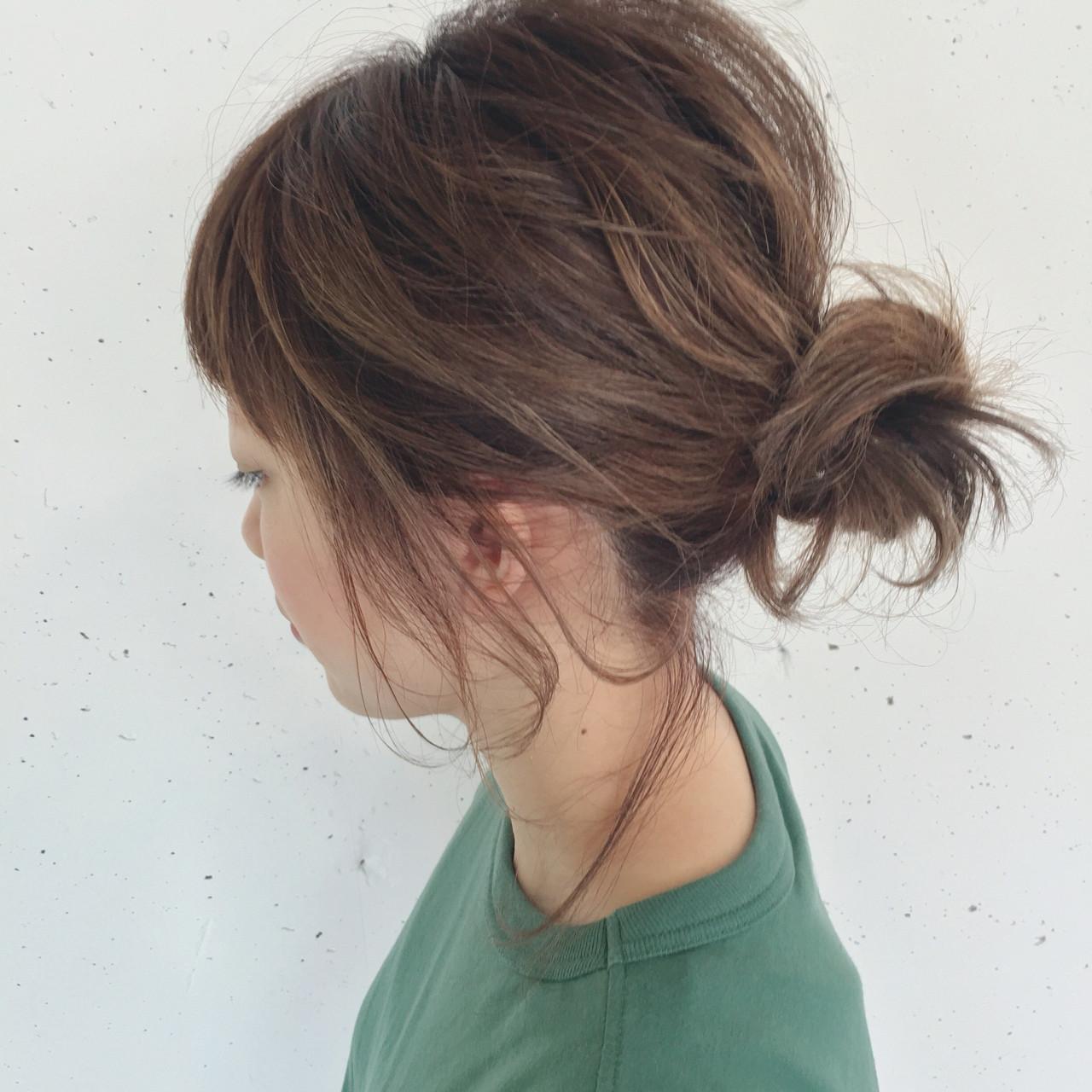 ショート ボブ お団子 簡単ヘアアレンジ ヘアスタイルや髪型の写真・画像