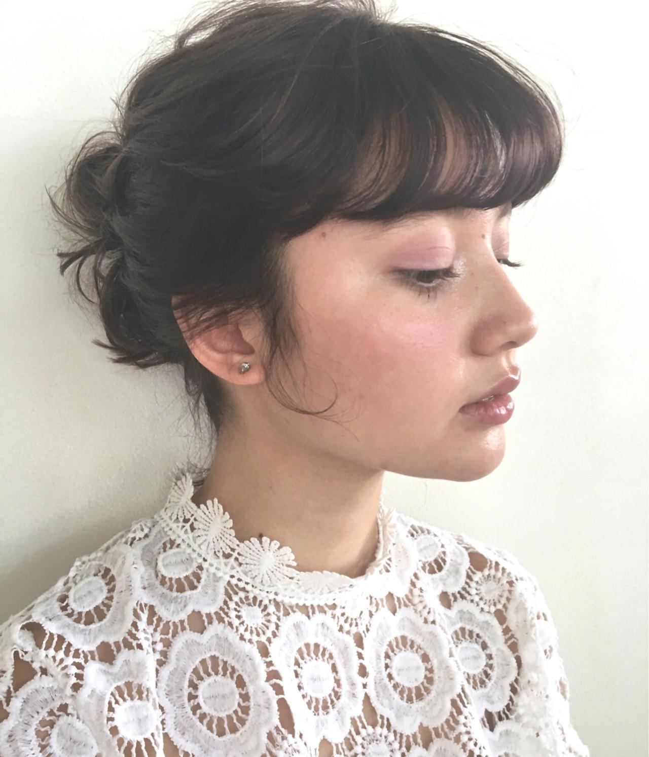 前髪パッツン ガーリー 前髪パーマ ミディアム ヘアスタイルや髪型の写真・画像