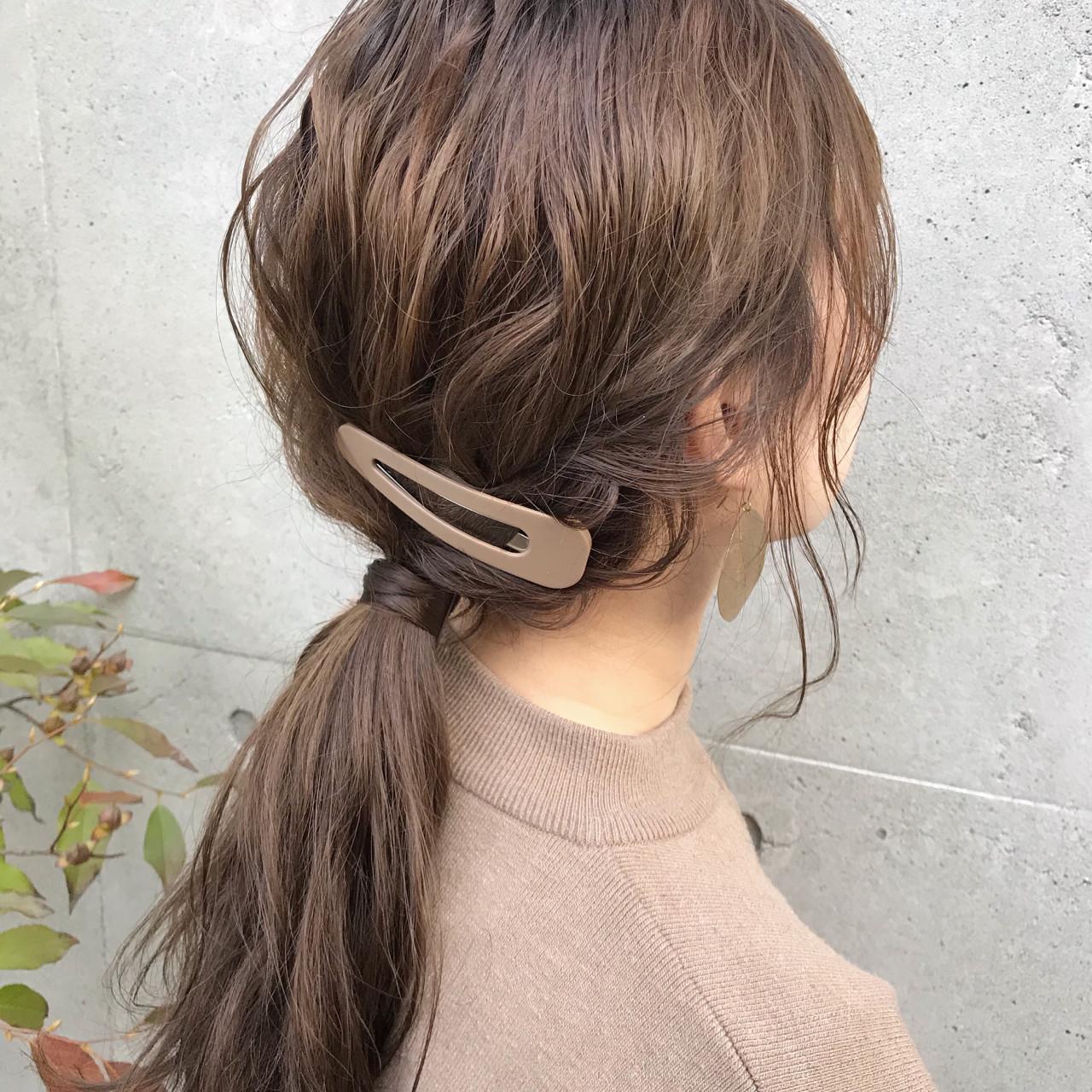デート セミロング ヘアアレンジ ポニーテール ヘアスタイルや髪型の写真・画像