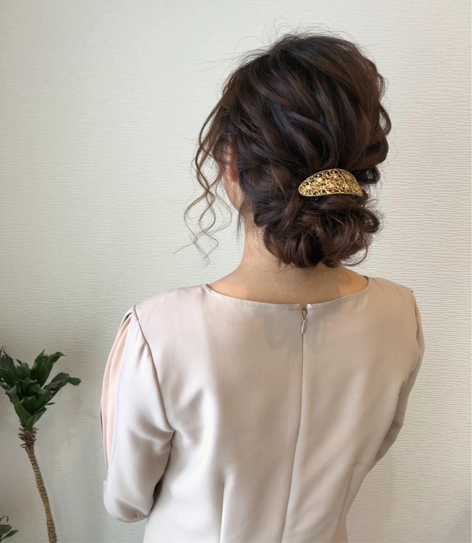 フェミニン 編み込み セミロング ヘアアレンジ ヘアスタイルや髪型の写真・画像