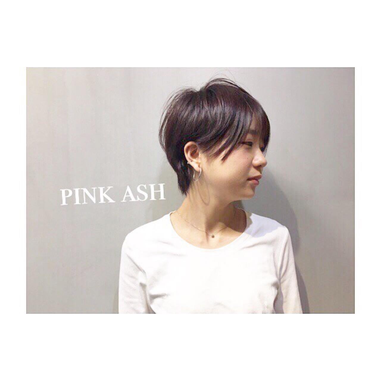 フェミニン ショート ナチュラル パープル ヘアスタイルや髪型の写真・画像