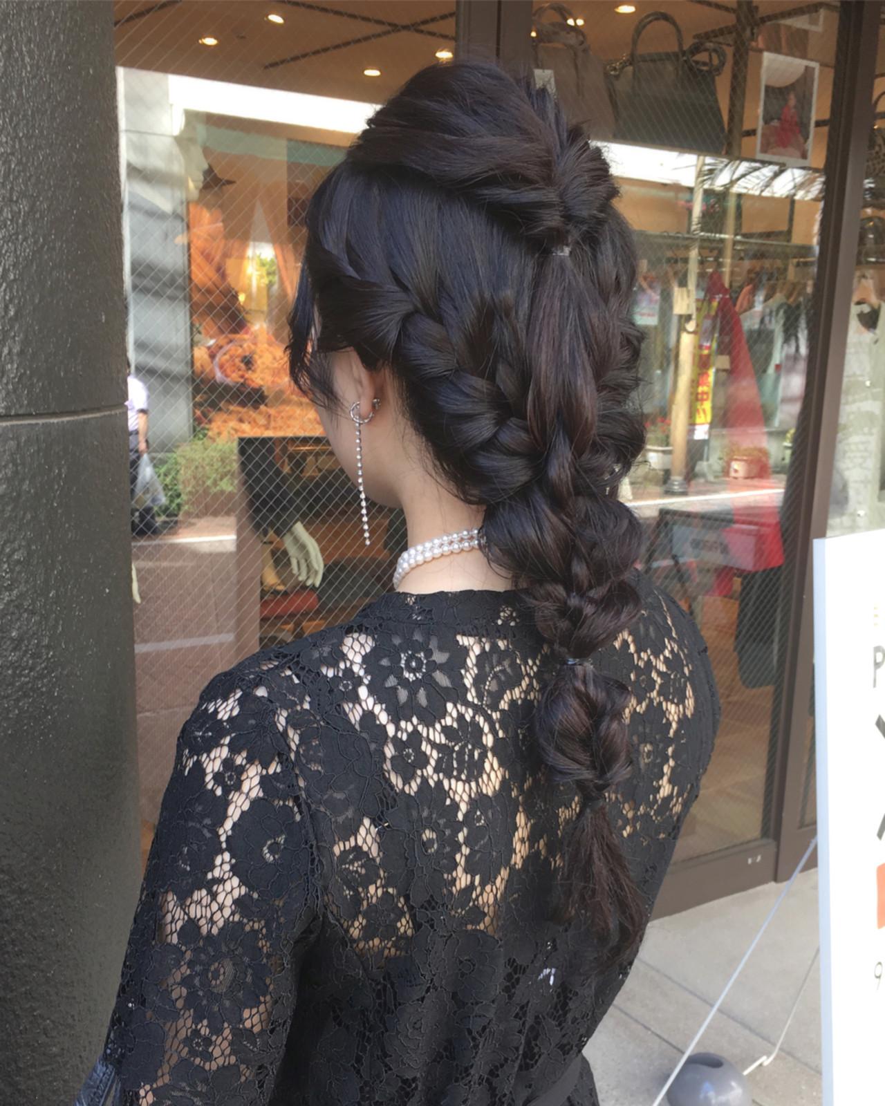 簡単ヘアアレンジ 上品 結婚式 ロング ヘアスタイルや髪型の写真・画像