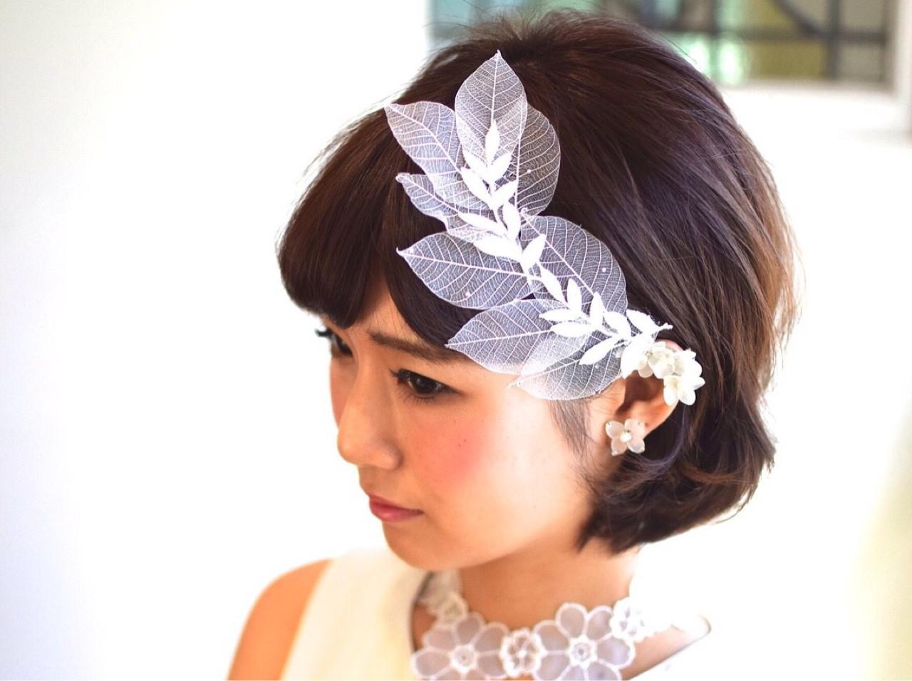 ボブ 結婚式 ブライダル ヘアアレンジ ヘアスタイルや髪型の写真・画像