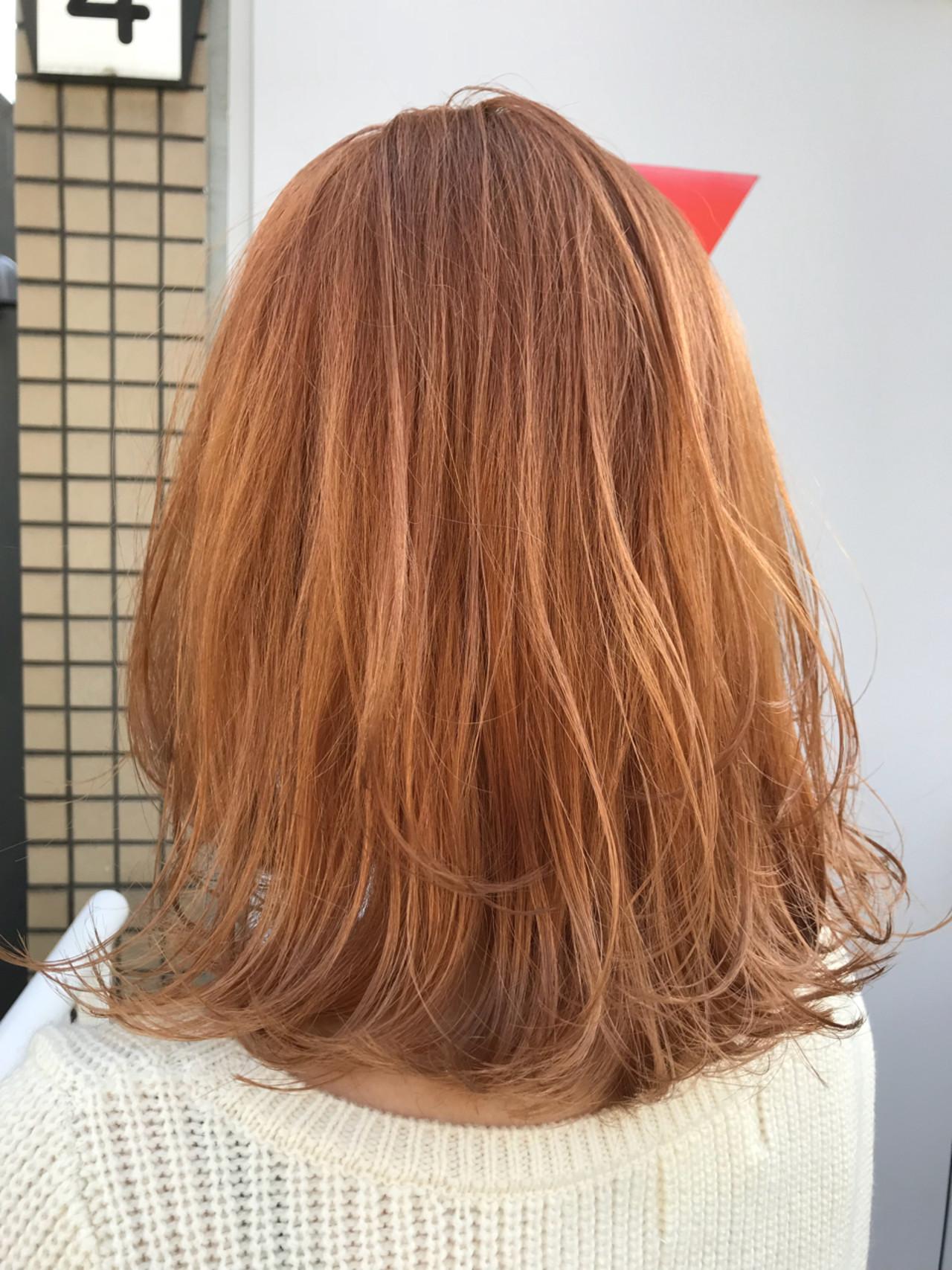 ワンカール カッパー レイヤーカット オレンジ ヘアスタイルや髪型の写真・画像