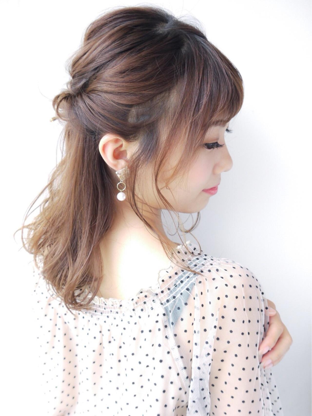 セミロング ヘアアレンジ 大人かわいい 女子力 ヘアスタイルや髪型の写真・画像