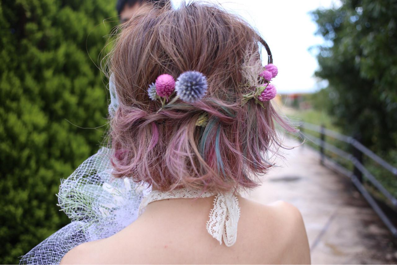 結婚式 クリスマス インナーカラー ヘアアレンジ ヘアスタイルや髪型の写真・画像