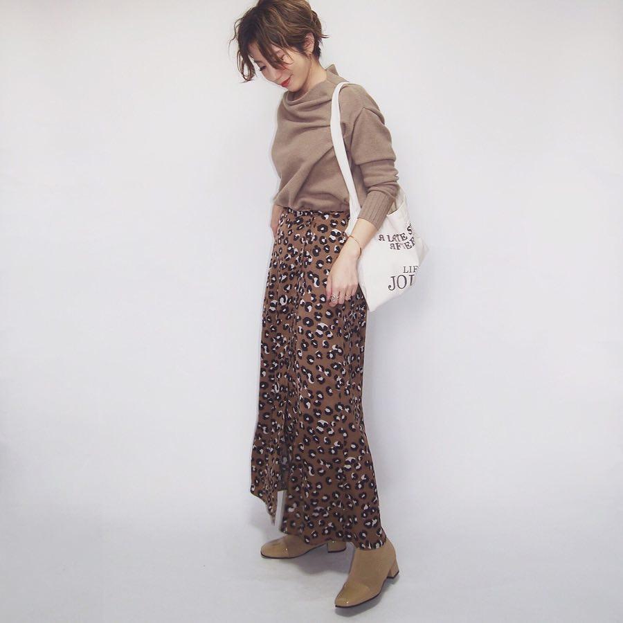 レオパード柄のロング丈スカート misato36