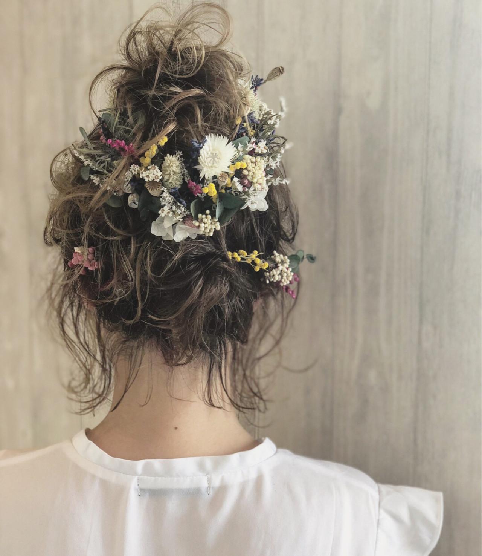 ガーリー ヘアアレンジ 結婚式 ゆるふわ ヘアスタイルや髪型の写真・画像