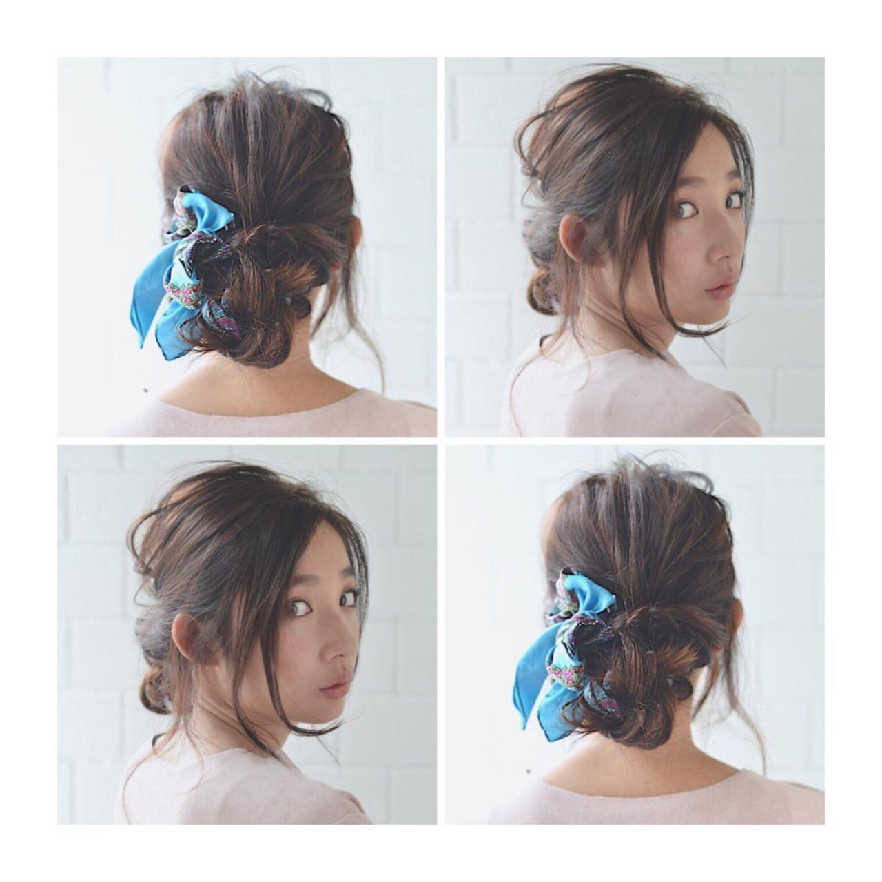フェミニン ヘアアレンジ 大人女子 シニヨン ヘアスタイルや髪型の写真・画像