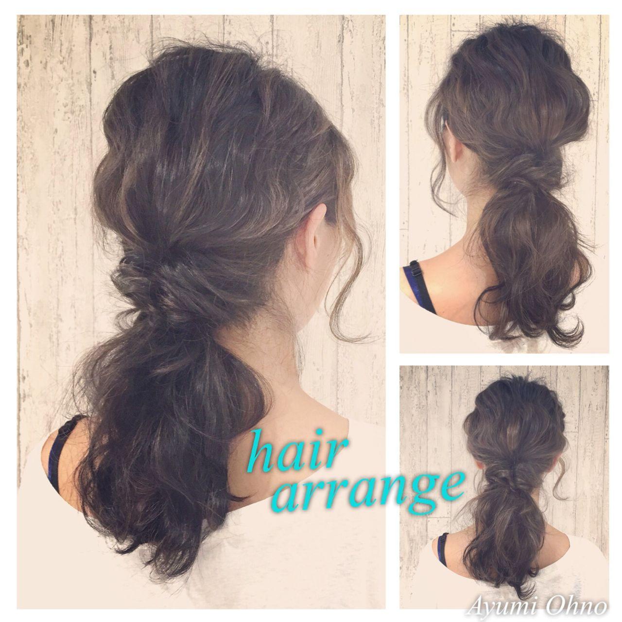 くるりんぱ ミディアム ゆるふわ ヘアアレンジ ヘアスタイルや髪型の写真・画像