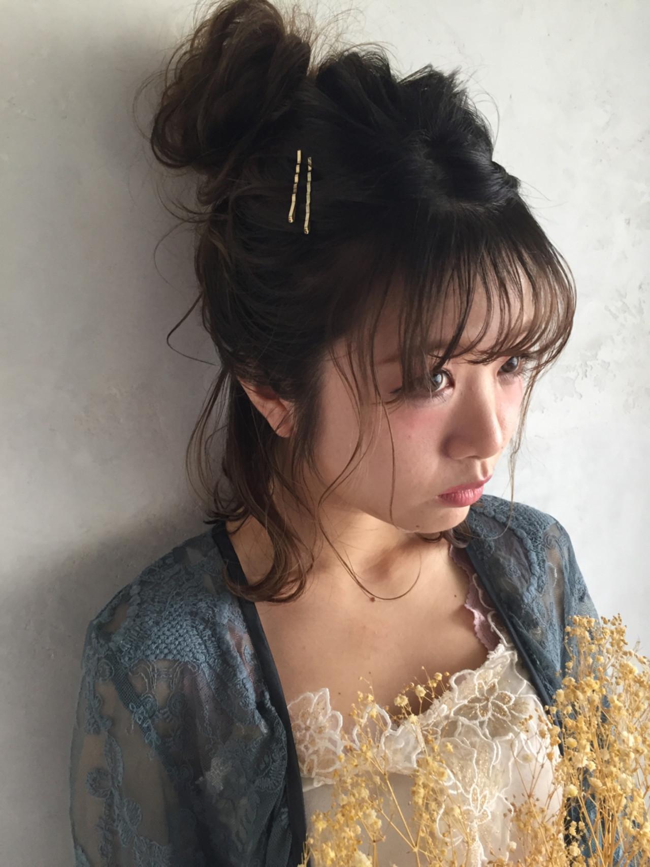 シースルーバング 結婚式 ヘアアレンジ 簡単ヘアアレンジ ヘアスタイルや髪型の写真・画像