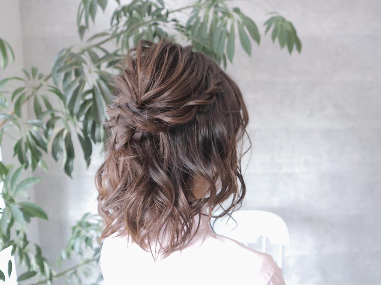 ボブ ハーフアップ エレガント デート ヘアスタイルや髪型の写真・画像