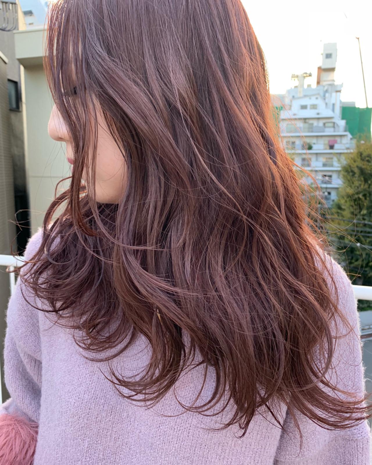 ピンクアッシュ ロング ナチュラル ピンク ヘアスタイルや髪型の写真・画像