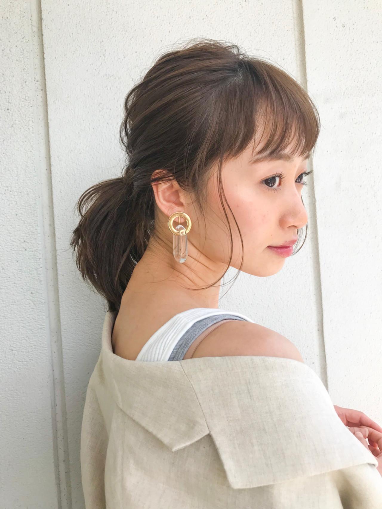 ナチュラル 簡単ヘアアレンジ ミディアム ポニーテール ヘアスタイルや髪型の写真・画像