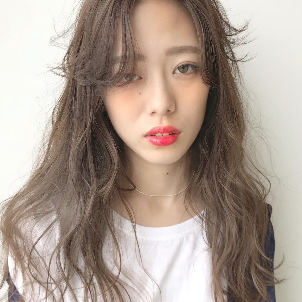 女子力 前髪あり アッシュ 抜け感 ヘアスタイルや髪型の写真・画像
