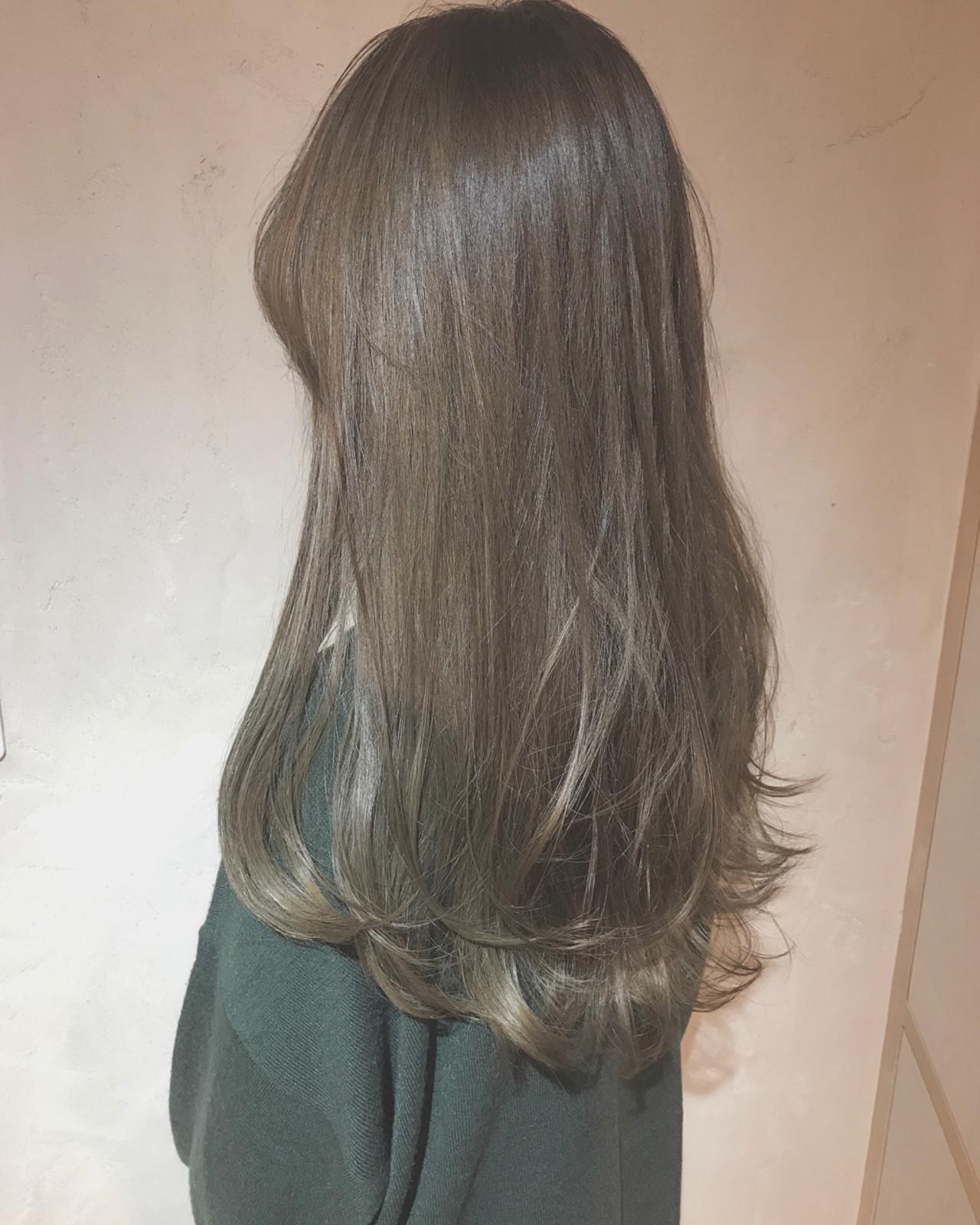 アッシュ 外国人風 ロング ハイライト ヘアスタイルや髪型の写真・画像