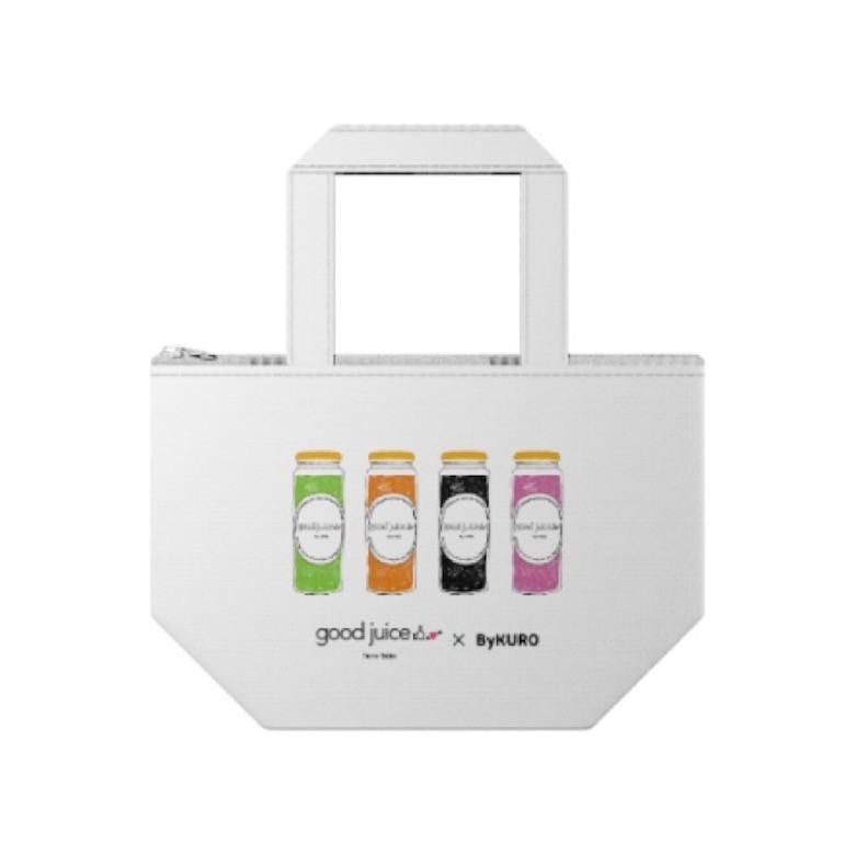 チャコールダイエット 顆粒Gと、good juice×ByKUROスペシャルデザインの保冷バッグ