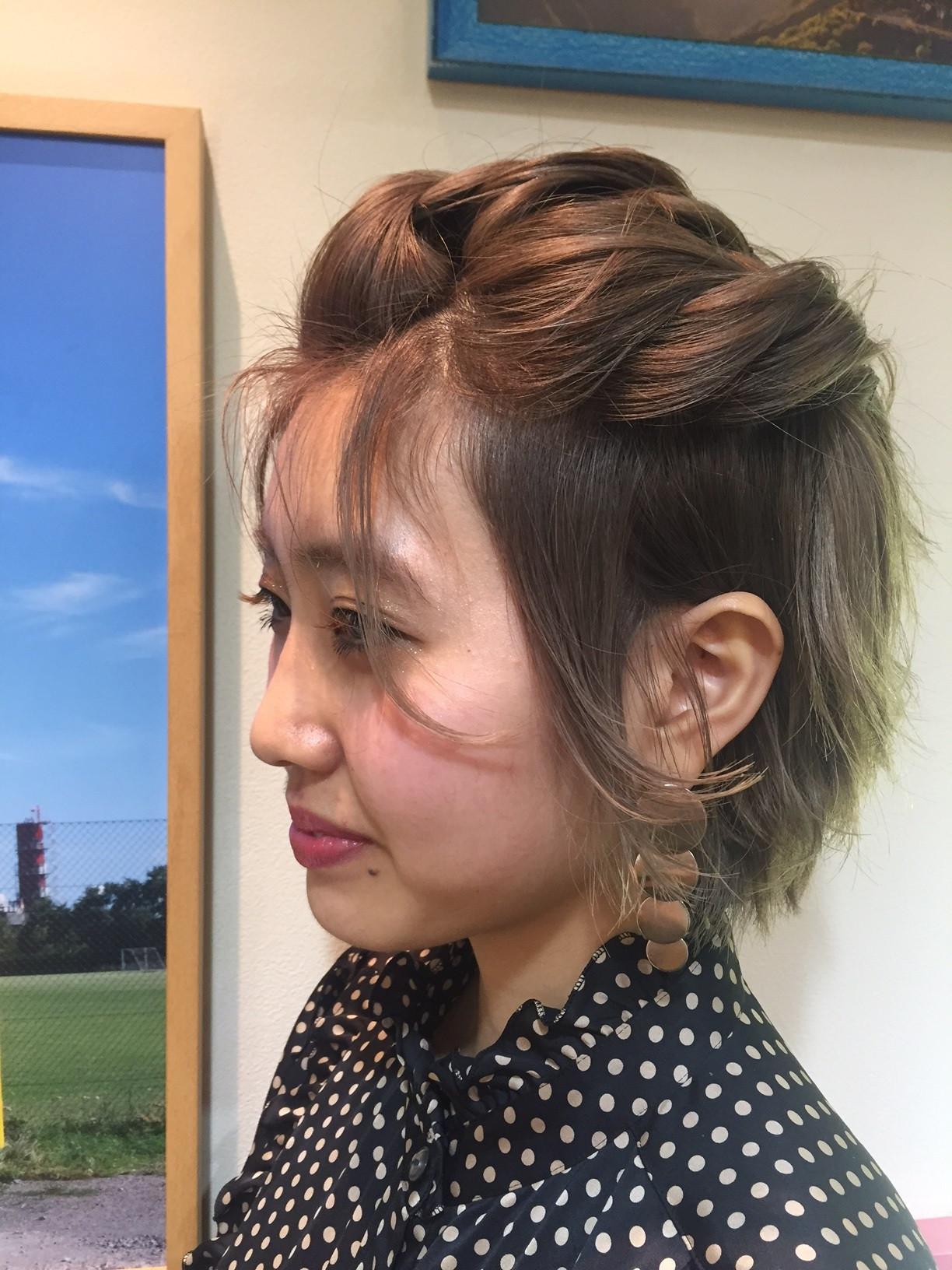 ナチュラル ショート ヘアアレンジ 簡単ヘアアレンジ ヘアスタイルや髪型の写真・画像