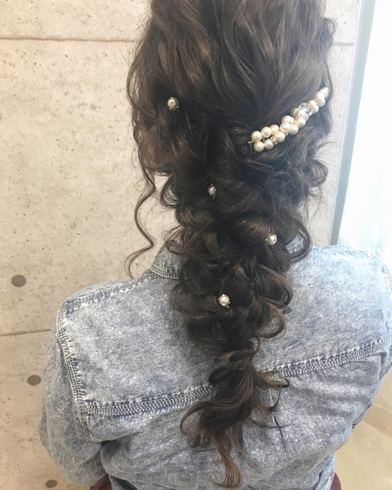 パールのヘアアクセサリーは上品な仕上がり♡ 大平 結花