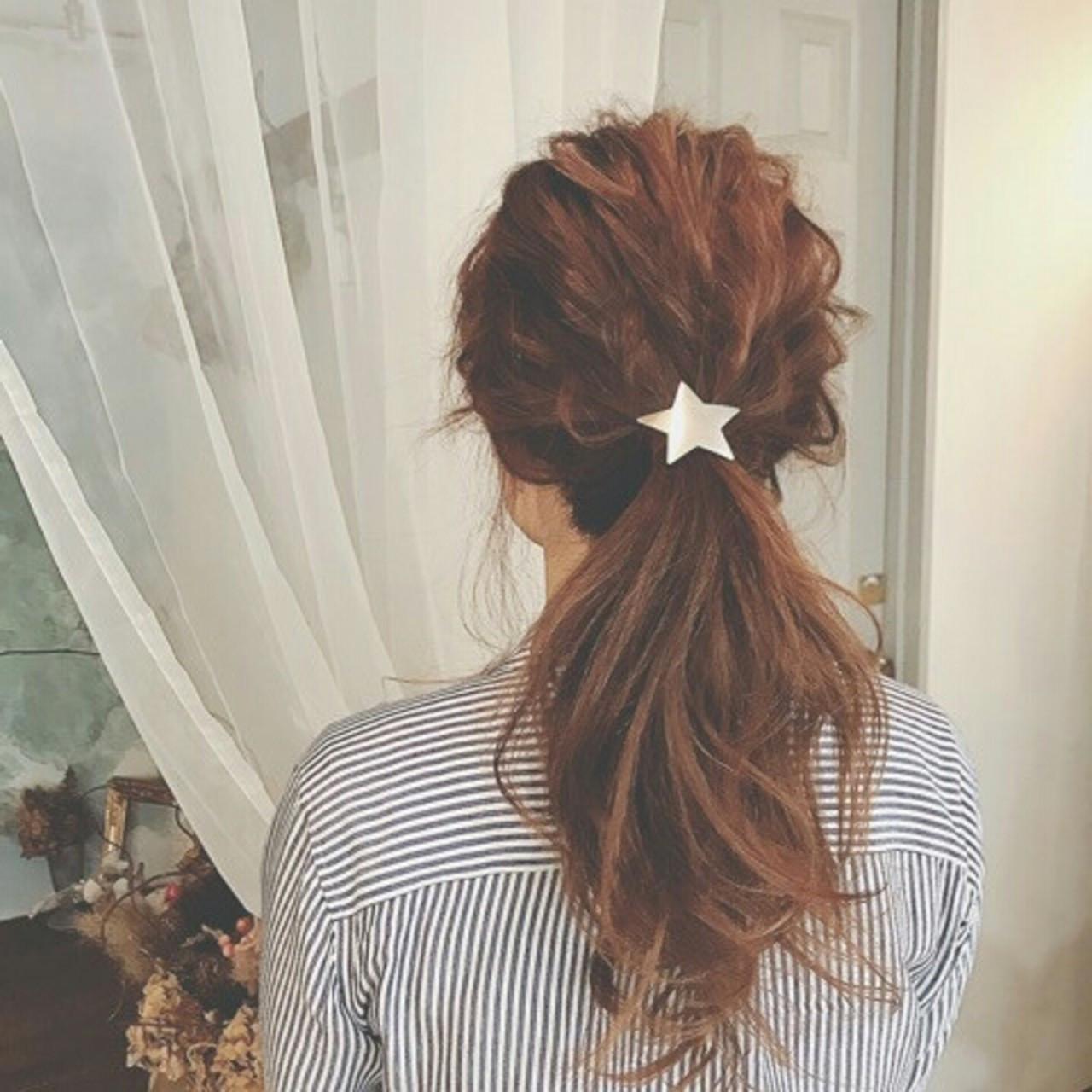 ポニーテール ナチュラル ロング 春 ヘアスタイルや髪型の写真・画像