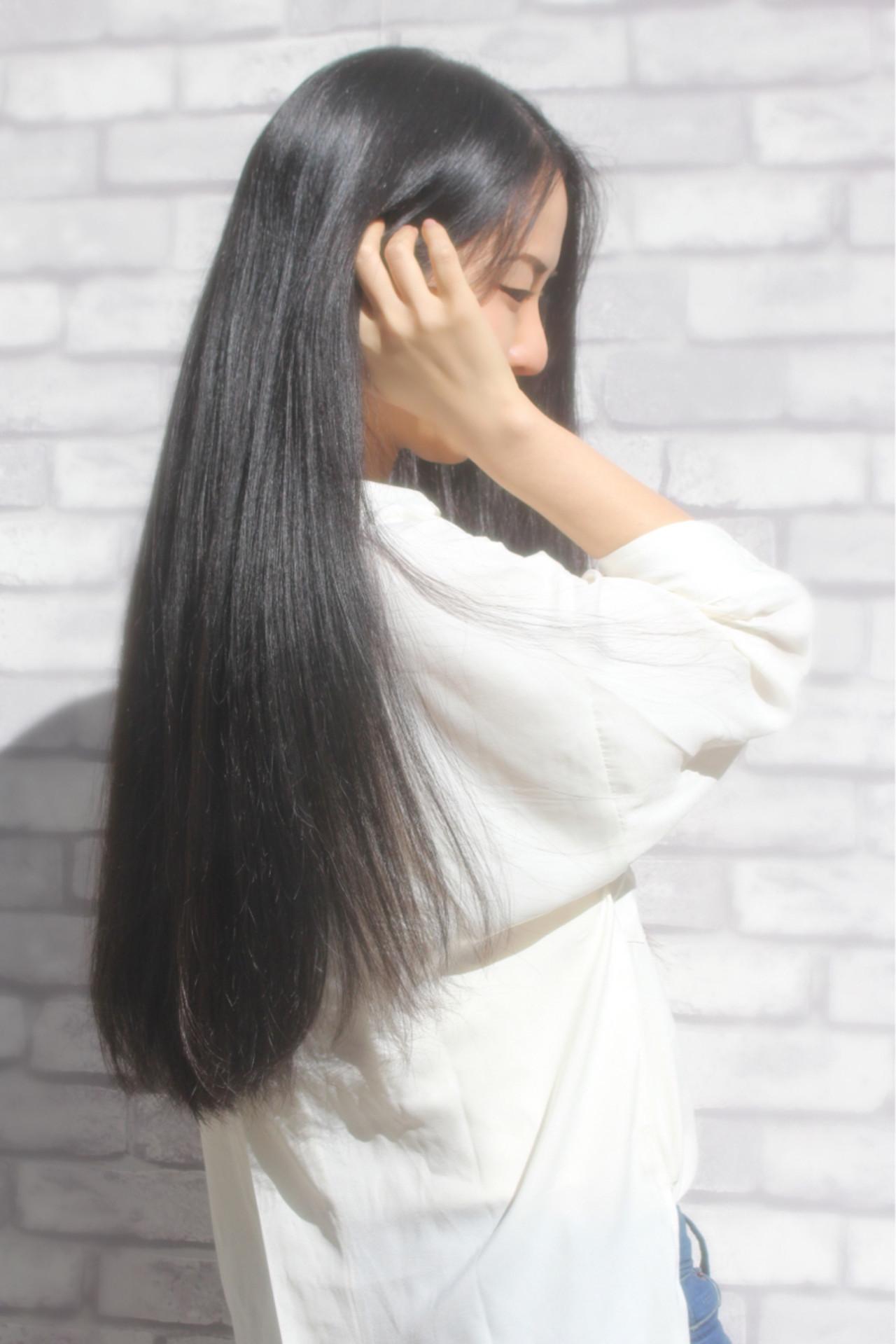憧れの黒髪ロングストレート×前髪なしスタイル 山下 拓也