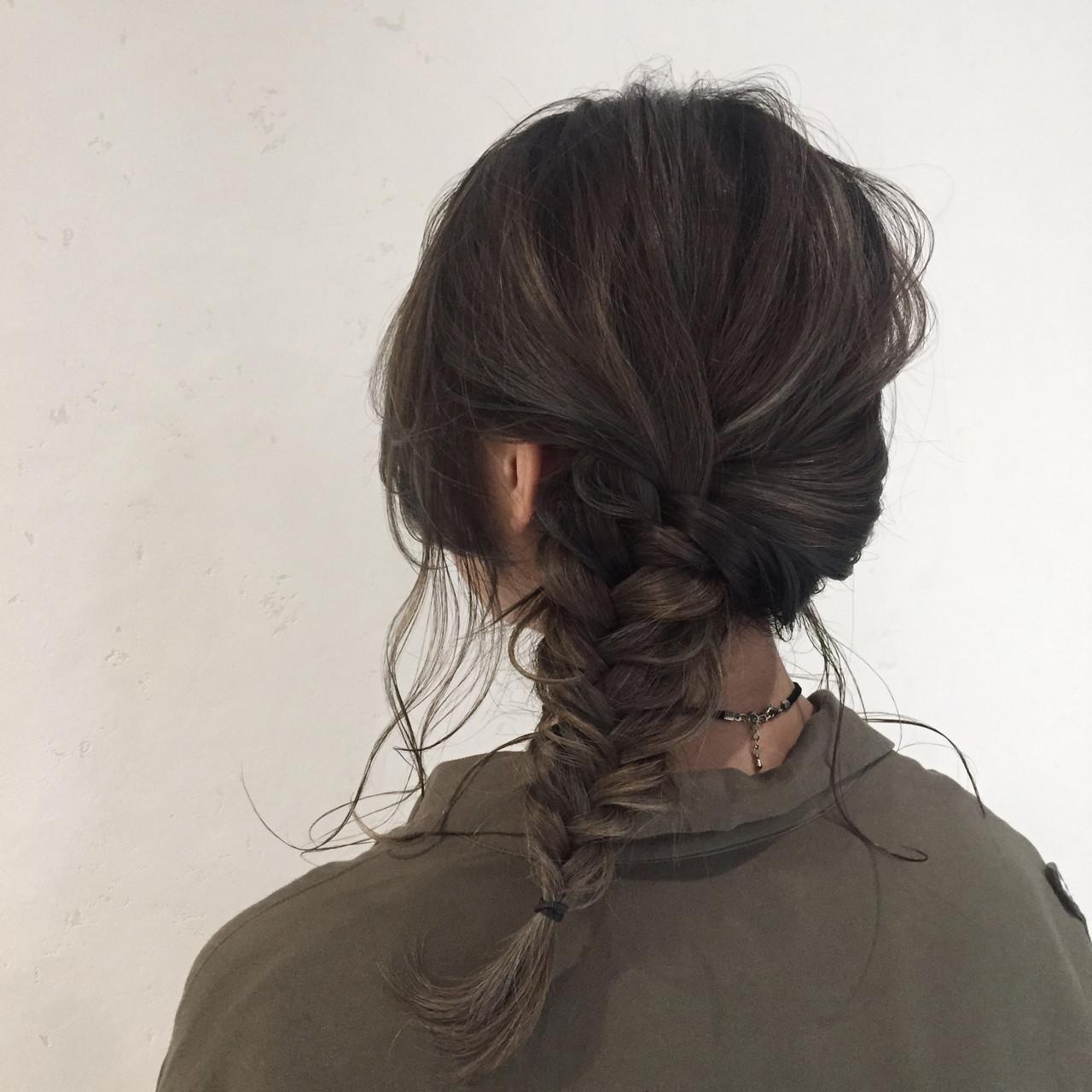 ハイライト 編み込み ミディアム 外国人風 ヘアスタイルや髪型の写真・画像