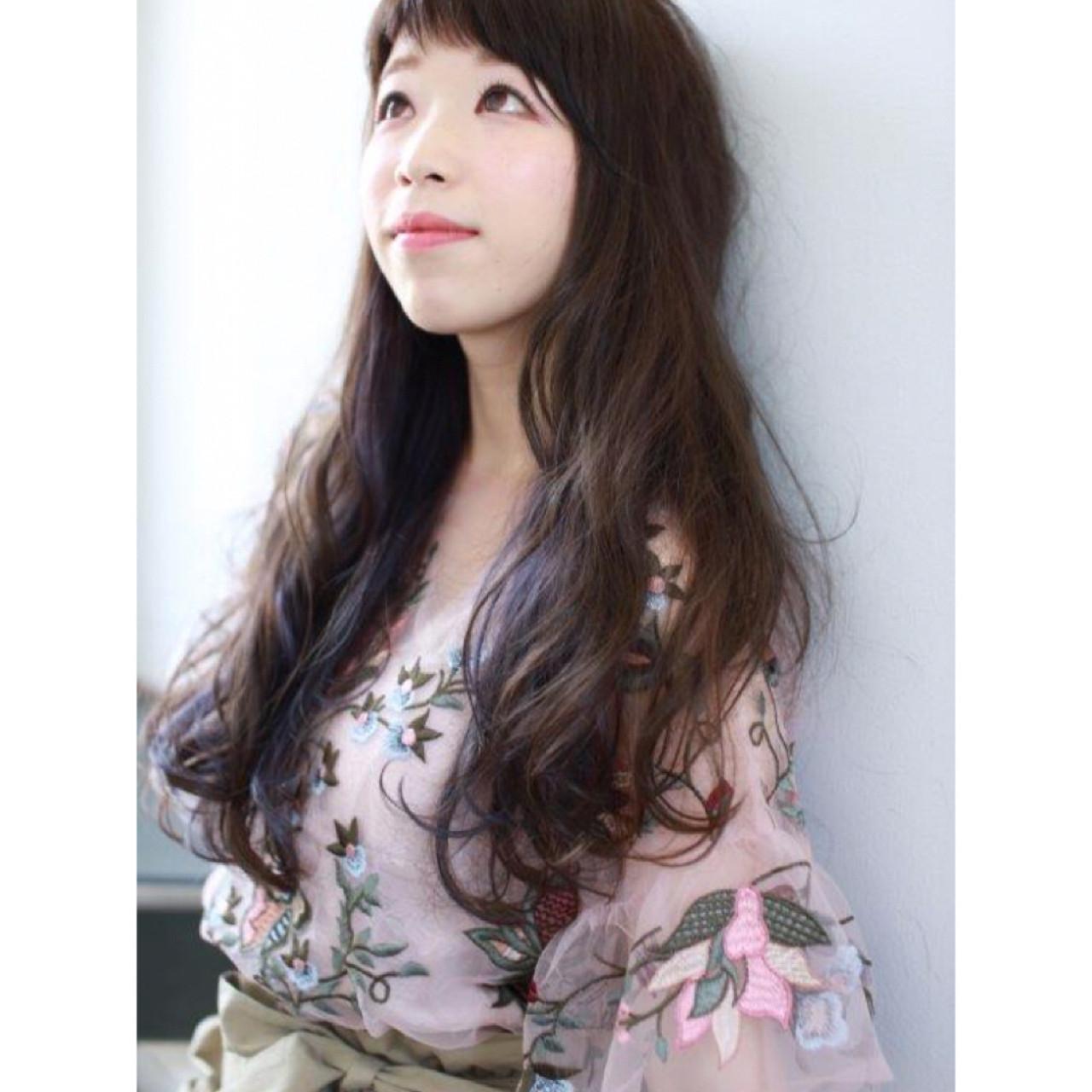 ロングの前髪アシメヘア Yumi Hiramatsu