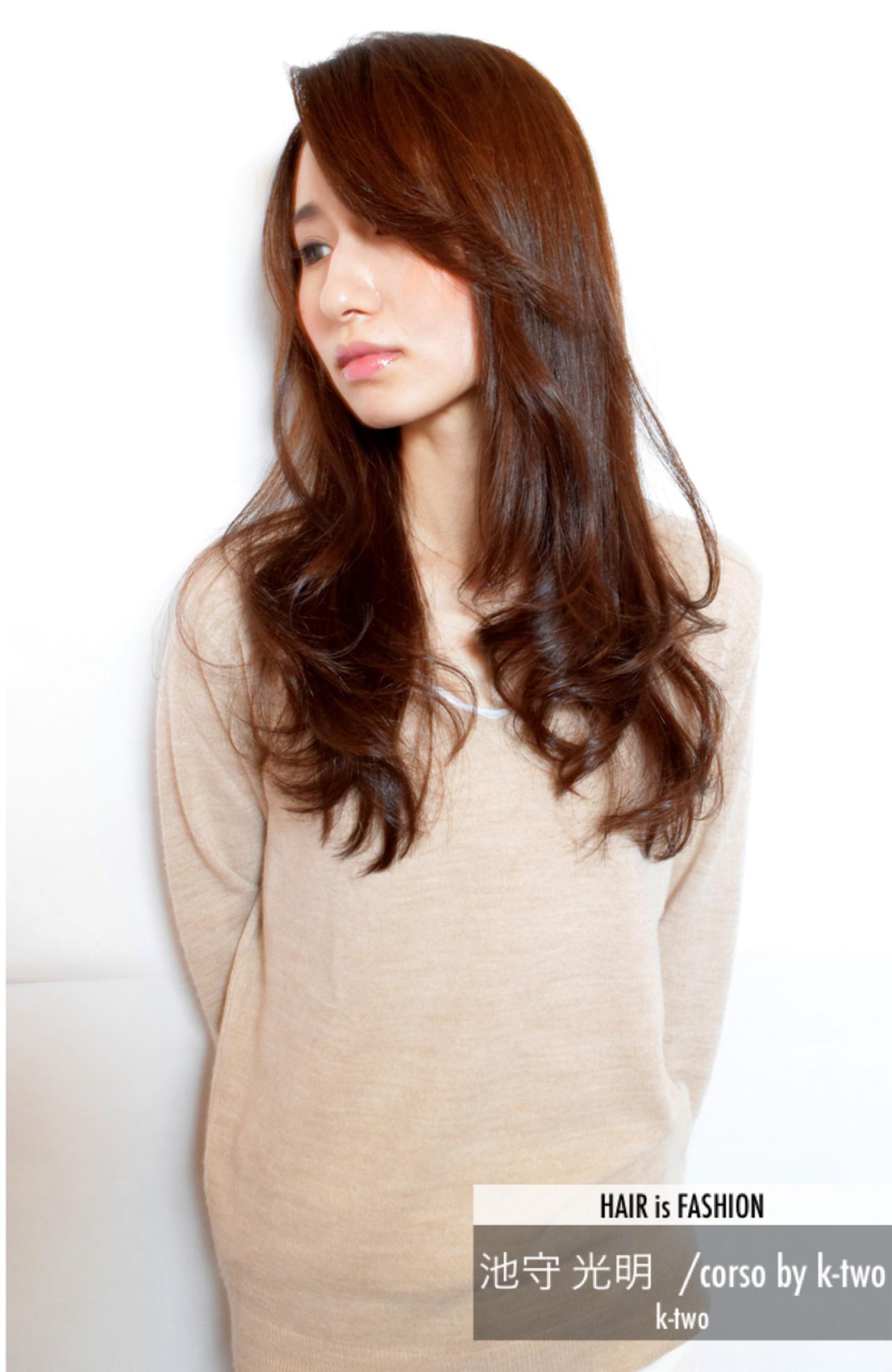 逆三角形 ロング ベース型 艶髪 ヘアスタイルや髪型の写真・画像