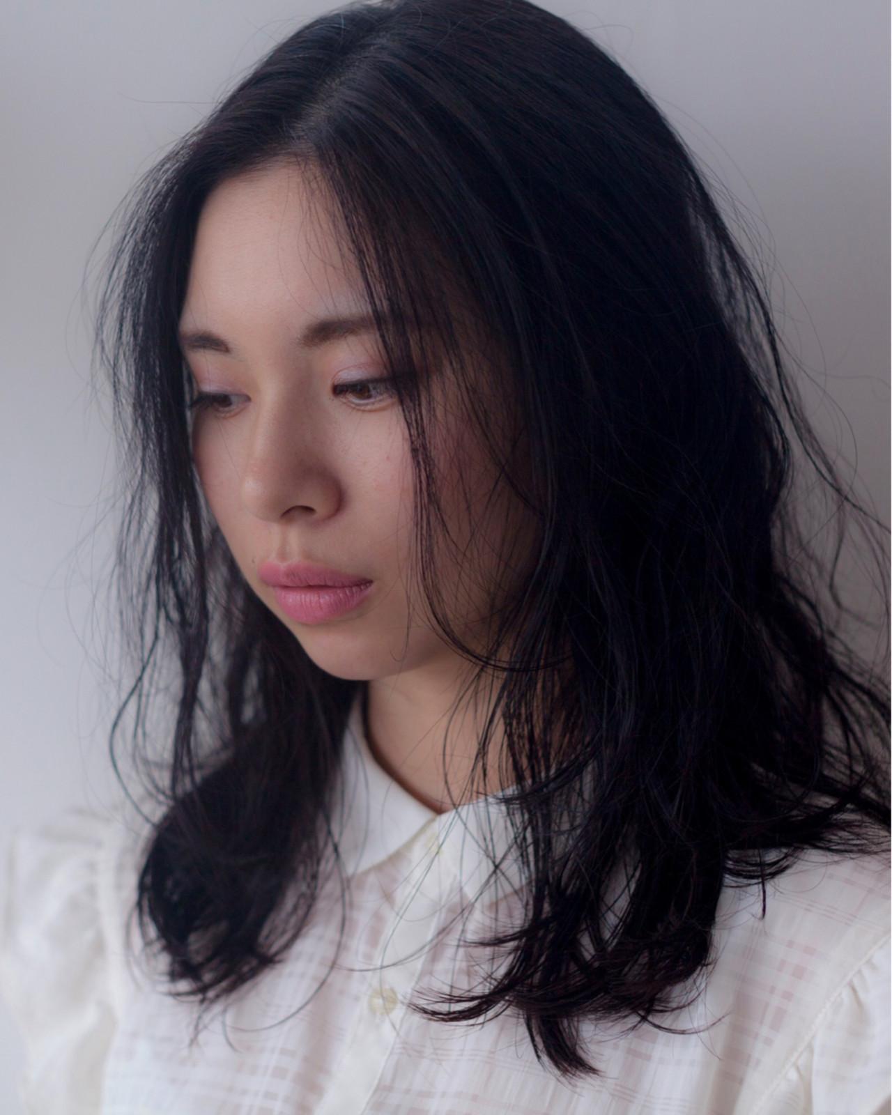 デジタルパーマ ミディアム ウェーブ ふわふわ ヘアスタイルや髪型の写真・画像