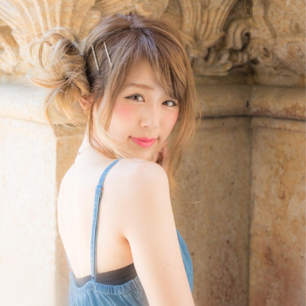 セミロング ヘアアレンジ 上品 サイドアップ ヘアスタイルや髪型の写真・画像