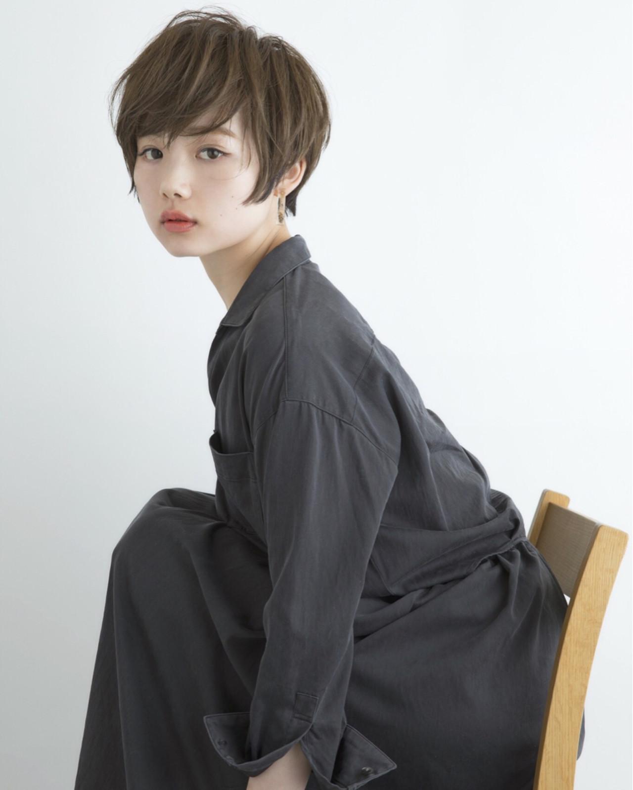 似合わせ ショート ナチュラル 小顔 ヘアスタイルや髪型の写真・画像
