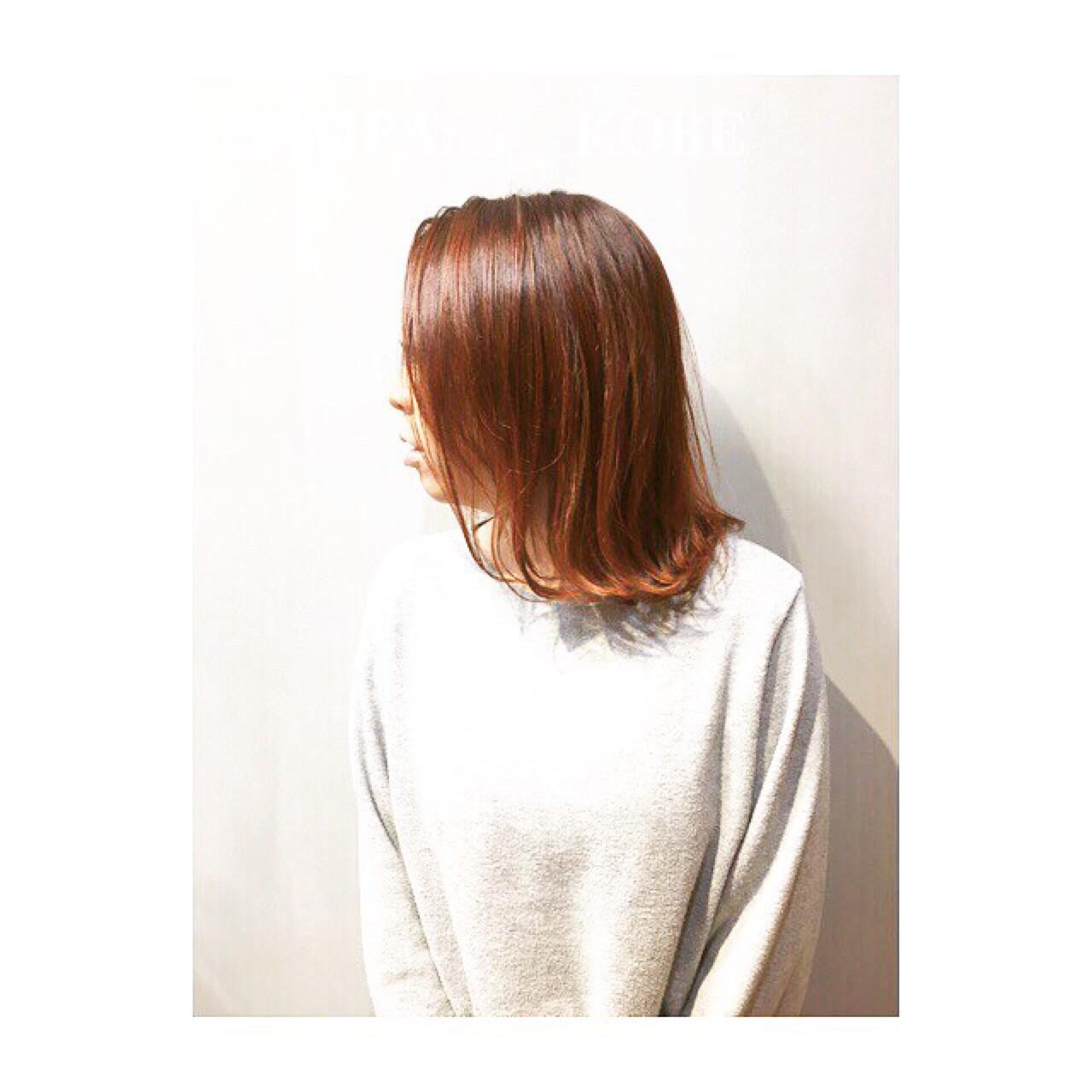 アプリコット アプリコットオレンジ ブラウン ナチュラル ヘアスタイルや髪型の写真・画像